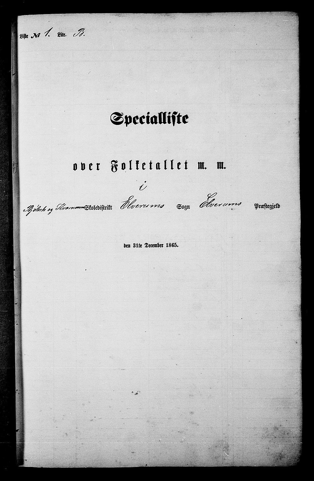 RA, Folketelling 1865 for 0427P Elverum prestegjeld, 1865, s. 24