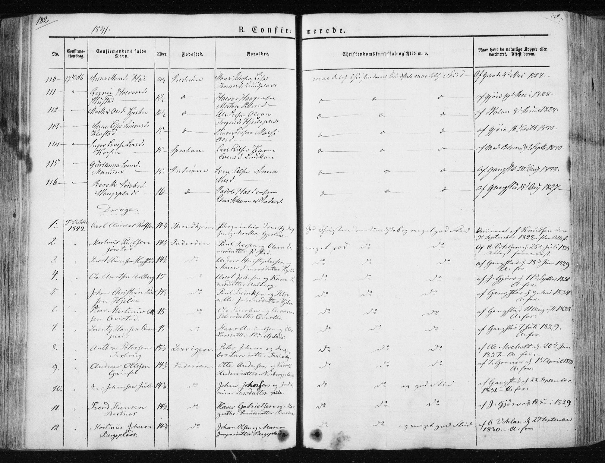 SAT, Ministerialprotokoller, klokkerbøker og fødselsregistre - Nord-Trøndelag, 730/L0280: Ministerialbok nr. 730A07 /1, 1840-1854, s. 182
