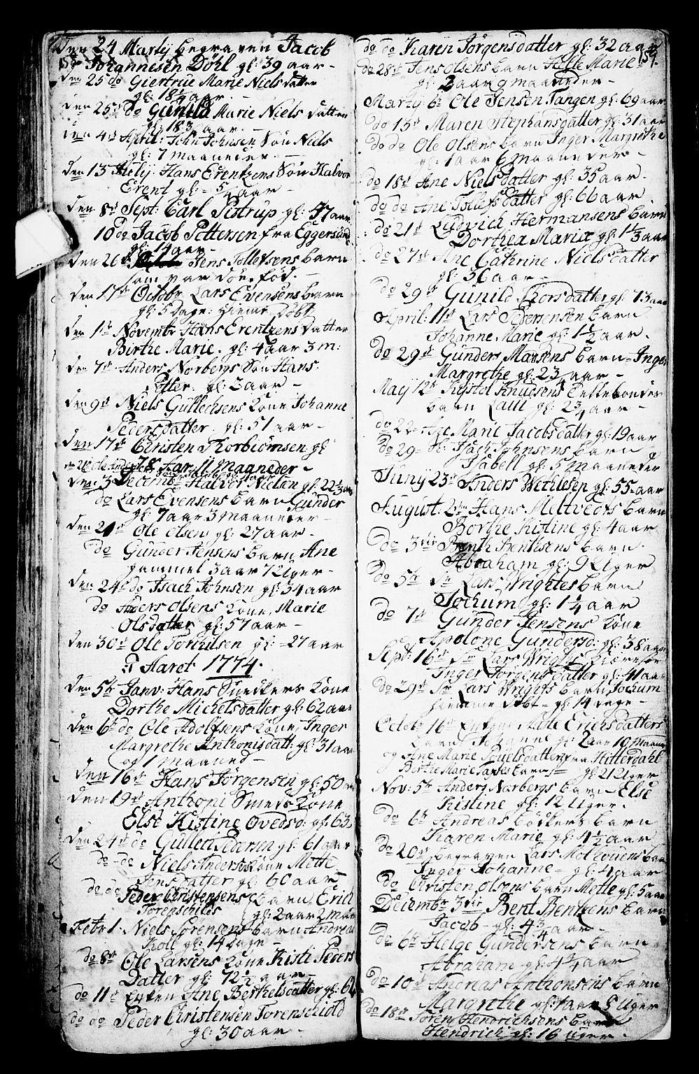 SAKO, Porsgrunn kirkebøker , G/Ga/L0001: Klokkerbok nr. I 1, 1766-1790, s. 158-159