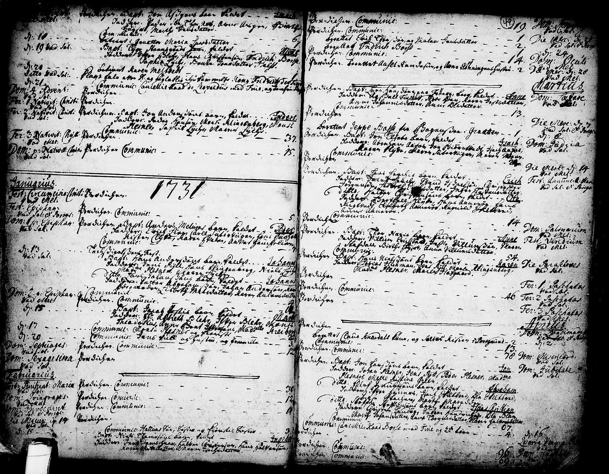 SAKO, Solum kirkebøker, F/Fa/L0002: Ministerialbok nr. I 2, 1713-1761, s. 44