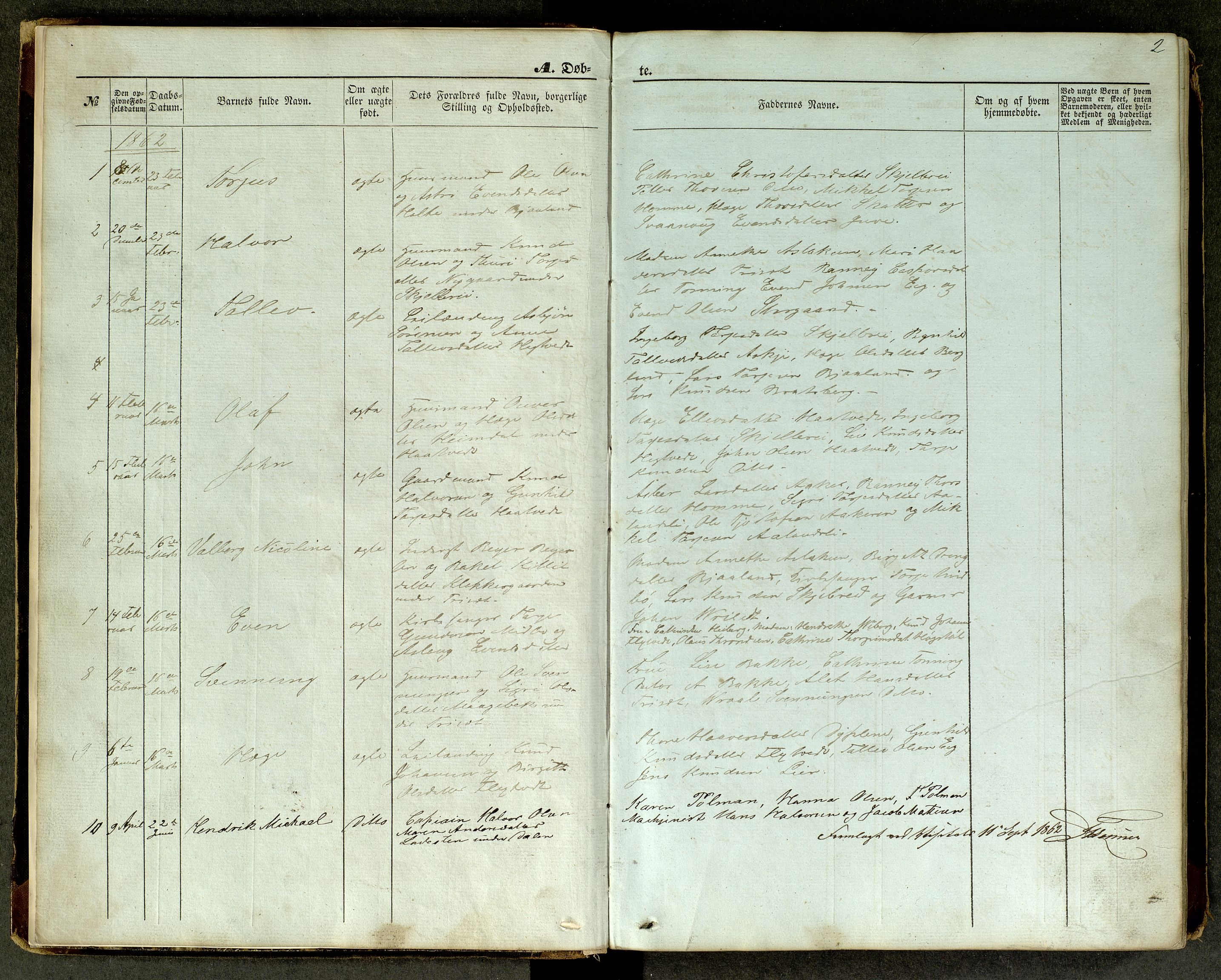 SAKO, Lårdal kirkebøker, G/Ga/L0002: Klokkerbok nr. I 2, 1861-1890, s. 2