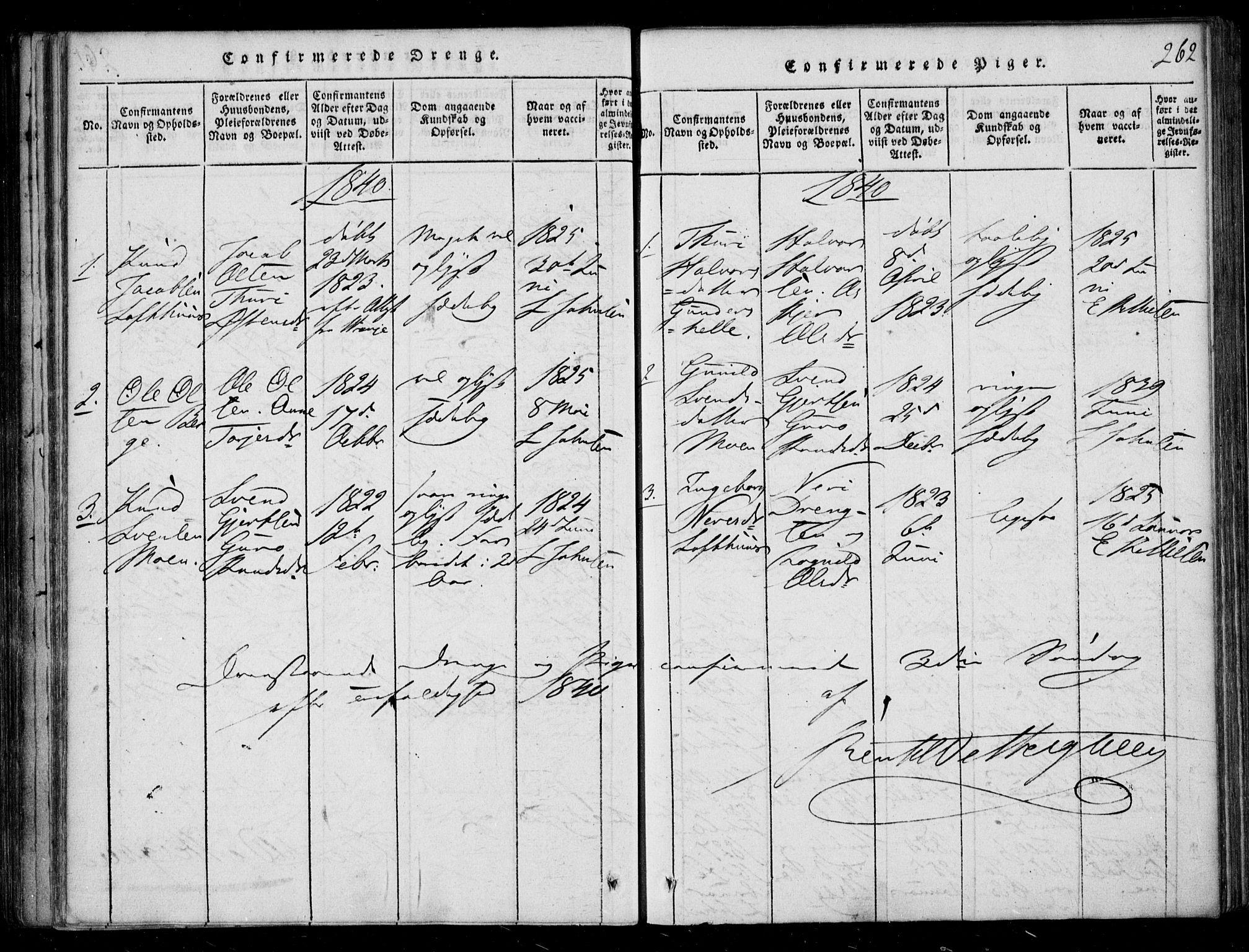 SAKO, Lårdal kirkebøker, F/Fb/L0001: Ministerialbok nr. II 1, 1815-1860, s. 262