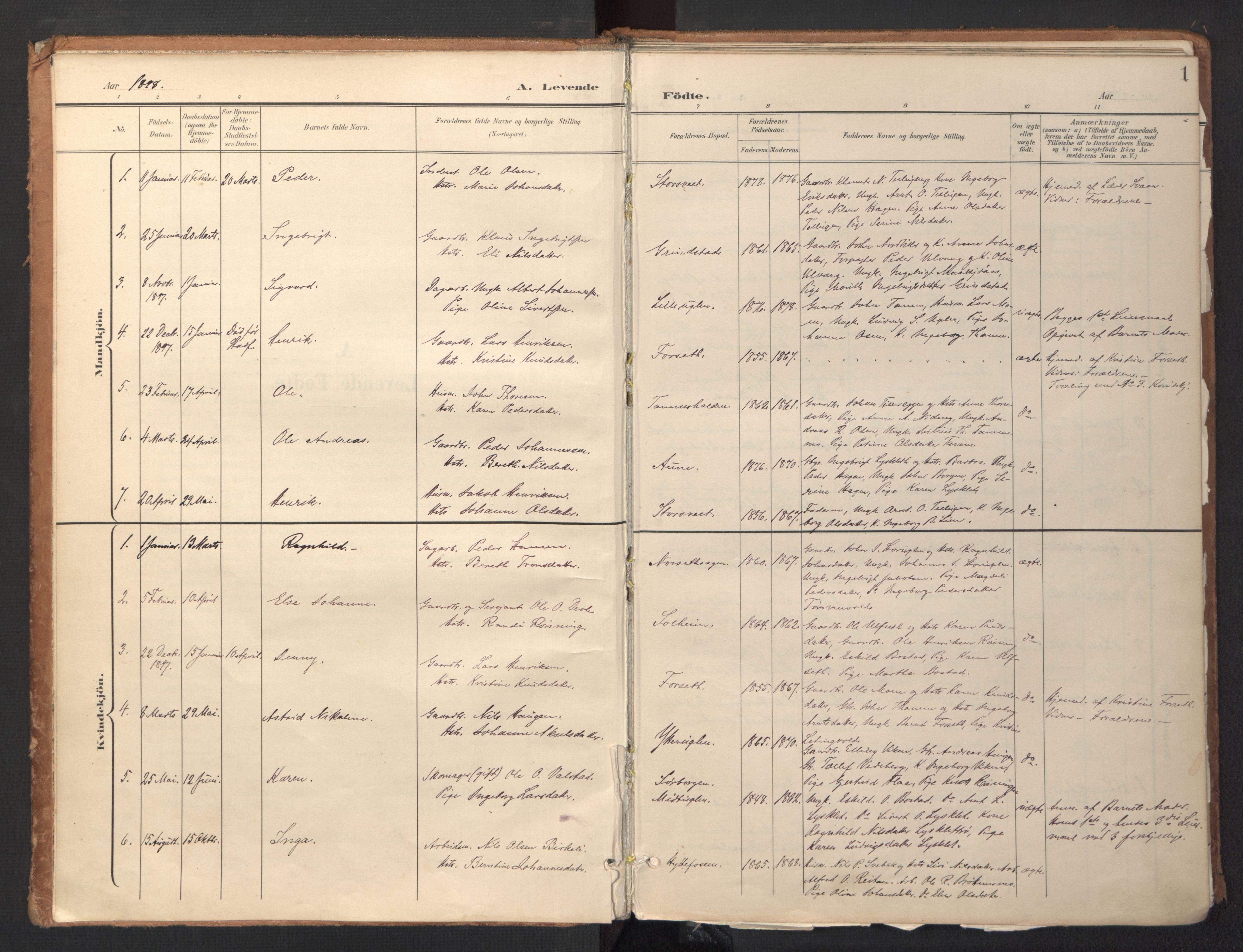 SAT, Ministerialprotokoller, klokkerbøker og fødselsregistre - Sør-Trøndelag, 618/L0448: Ministerialbok nr. 618A11, 1898-1916, s. 1