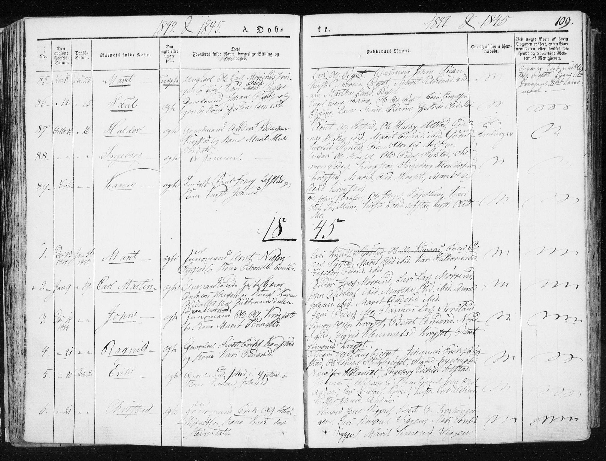 SAT, Ministerialprotokoller, klokkerbøker og fødselsregistre - Sør-Trøndelag, 665/L0771: Ministerialbok nr. 665A06, 1830-1856, s. 109