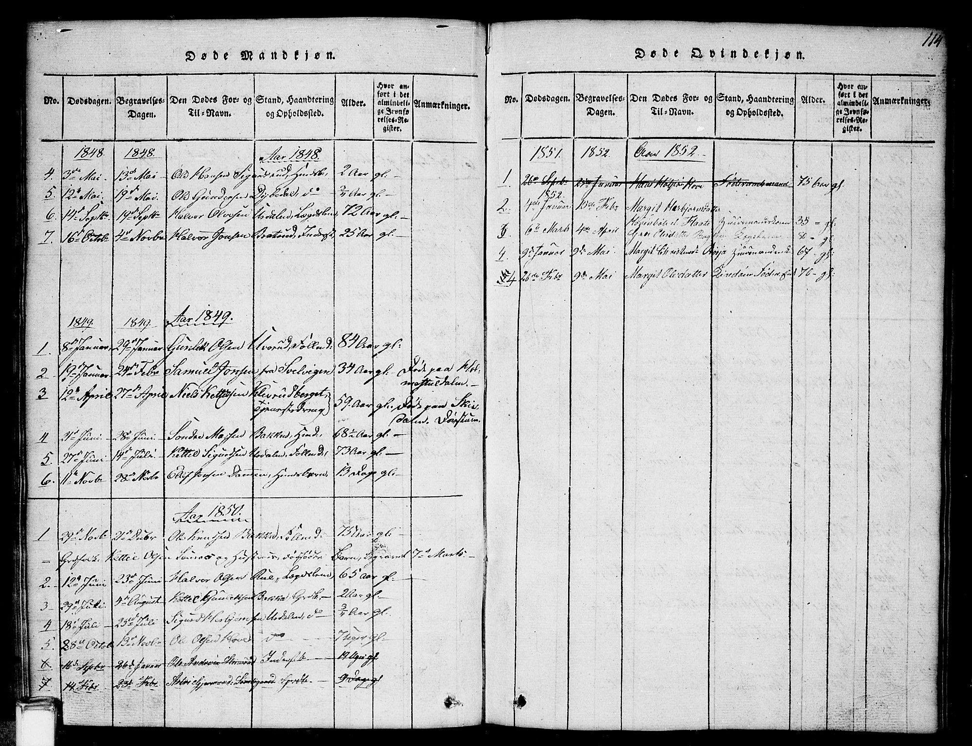 SAKO, Gransherad kirkebøker, G/Gb/L0001: Klokkerbok nr. II 1, 1815-1860, s. 114