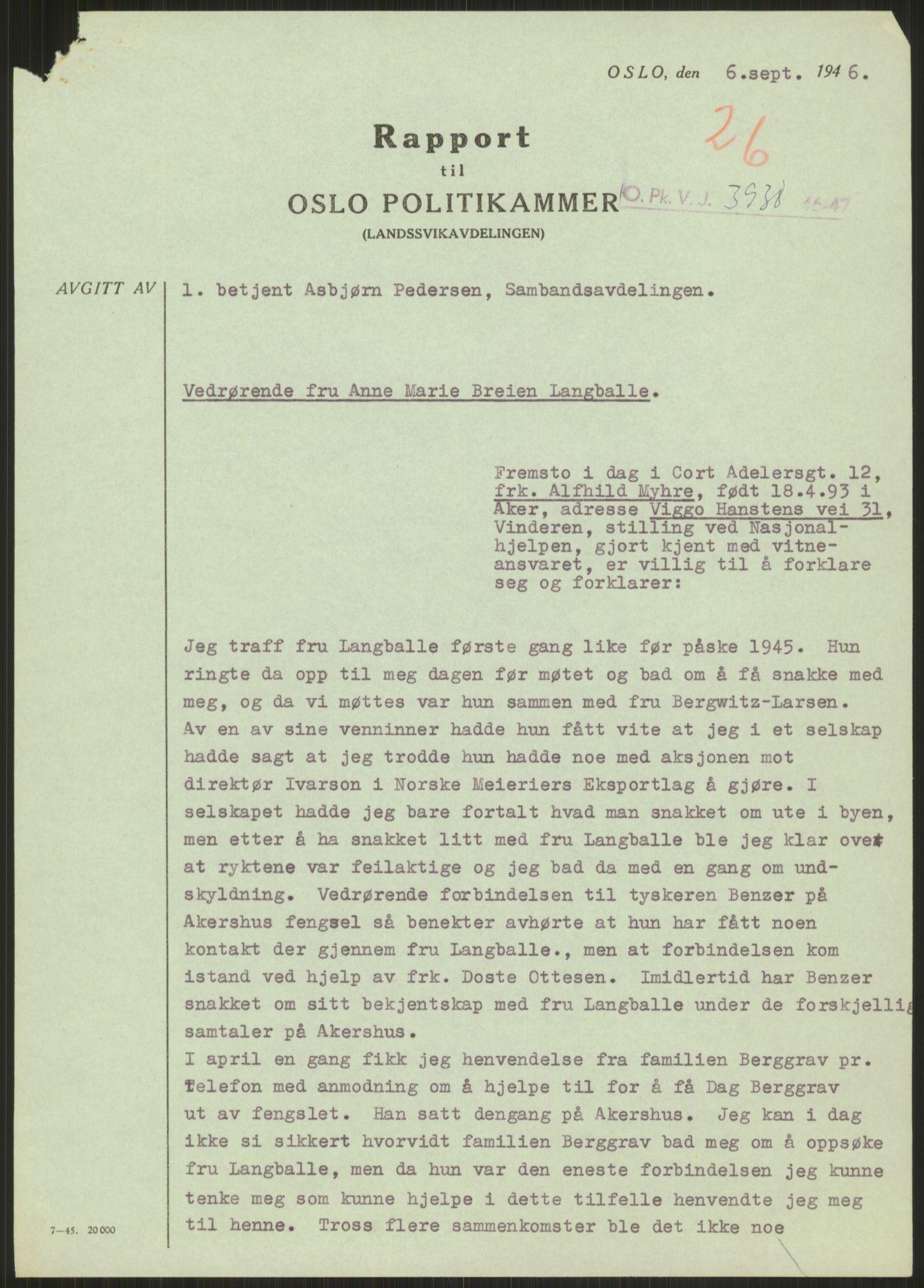 RA, Landssvikarkivet, Oslo politikammer, D/Dg/L0267: Henlagt hnr. 3658, 1945-1946, s. 290