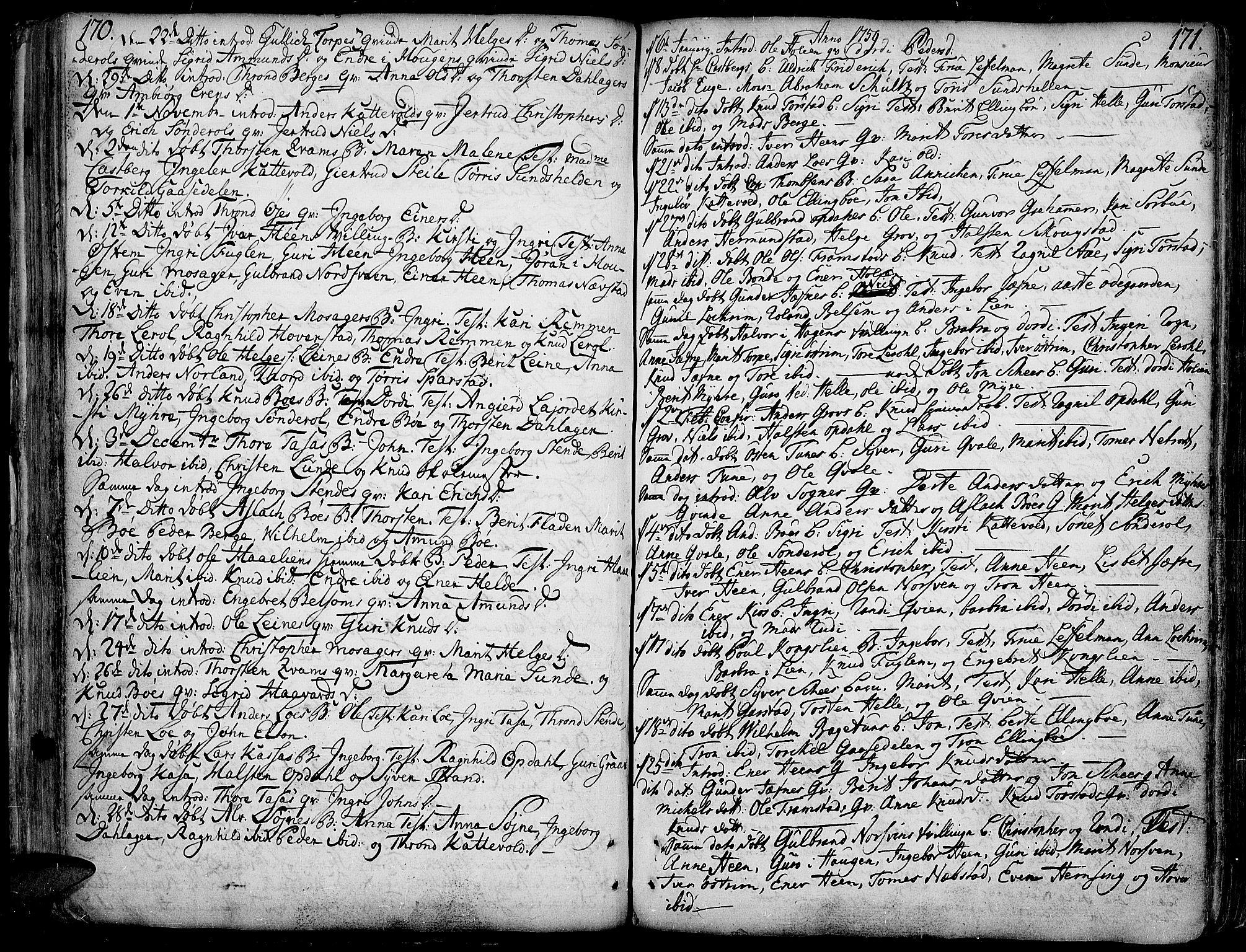 SAH, Vang prestekontor, Valdres, Ministerialbok nr. 1, 1730-1796, s. 170-171