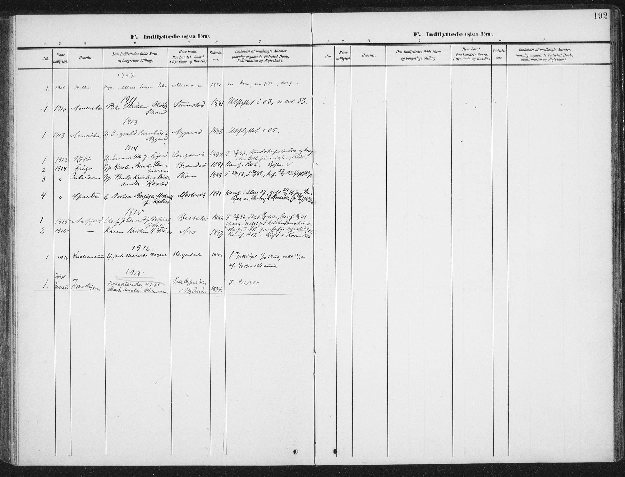 SAT, Ministerialprotokoller, klokkerbøker og fødselsregistre - Sør-Trøndelag, 657/L0709: Ministerialbok nr. 657A10, 1905-1919, s. 192
