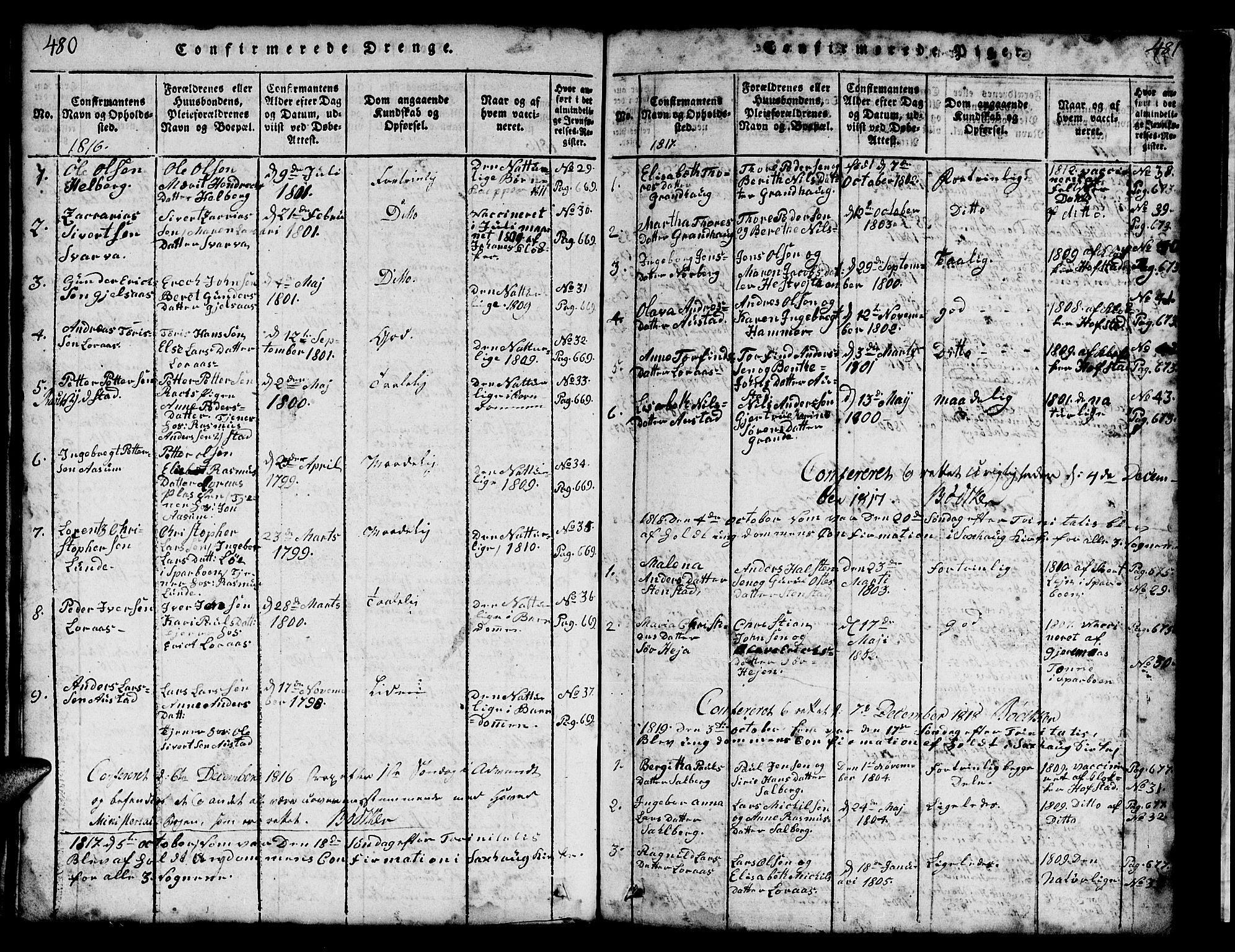 SAT, Ministerialprotokoller, klokkerbøker og fødselsregistre - Nord-Trøndelag, 731/L0310: Klokkerbok nr. 731C01, 1816-1874, s. 480-481