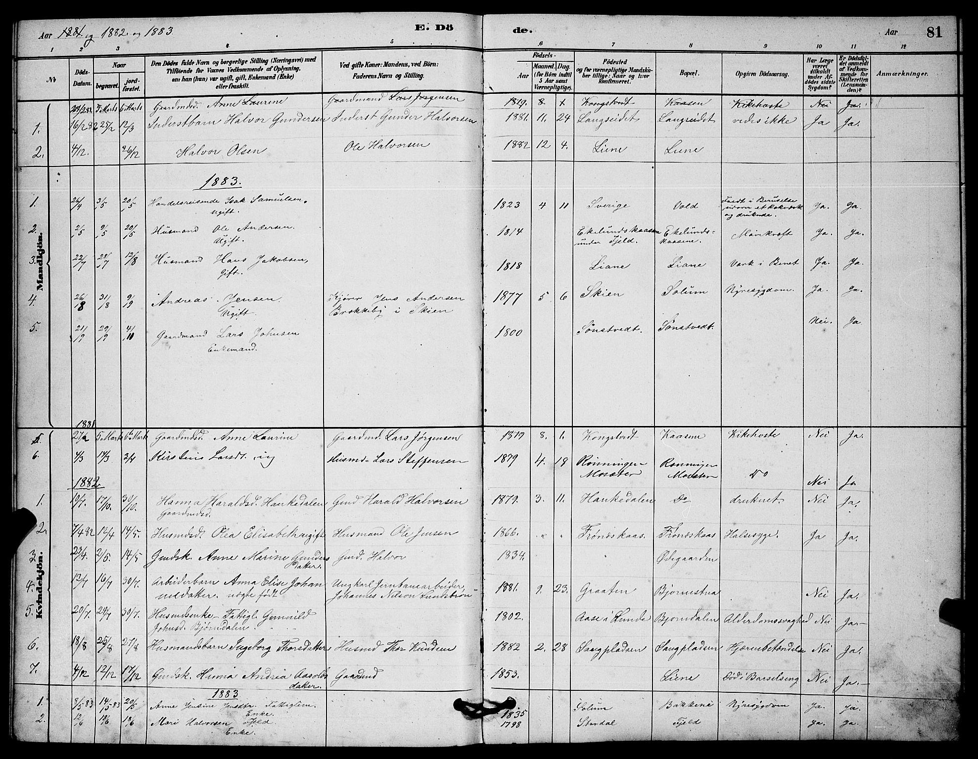 SAKO, Solum kirkebøker, G/Gc/L0001: Klokkerbok nr. III 1, 1880-1902, s. 81