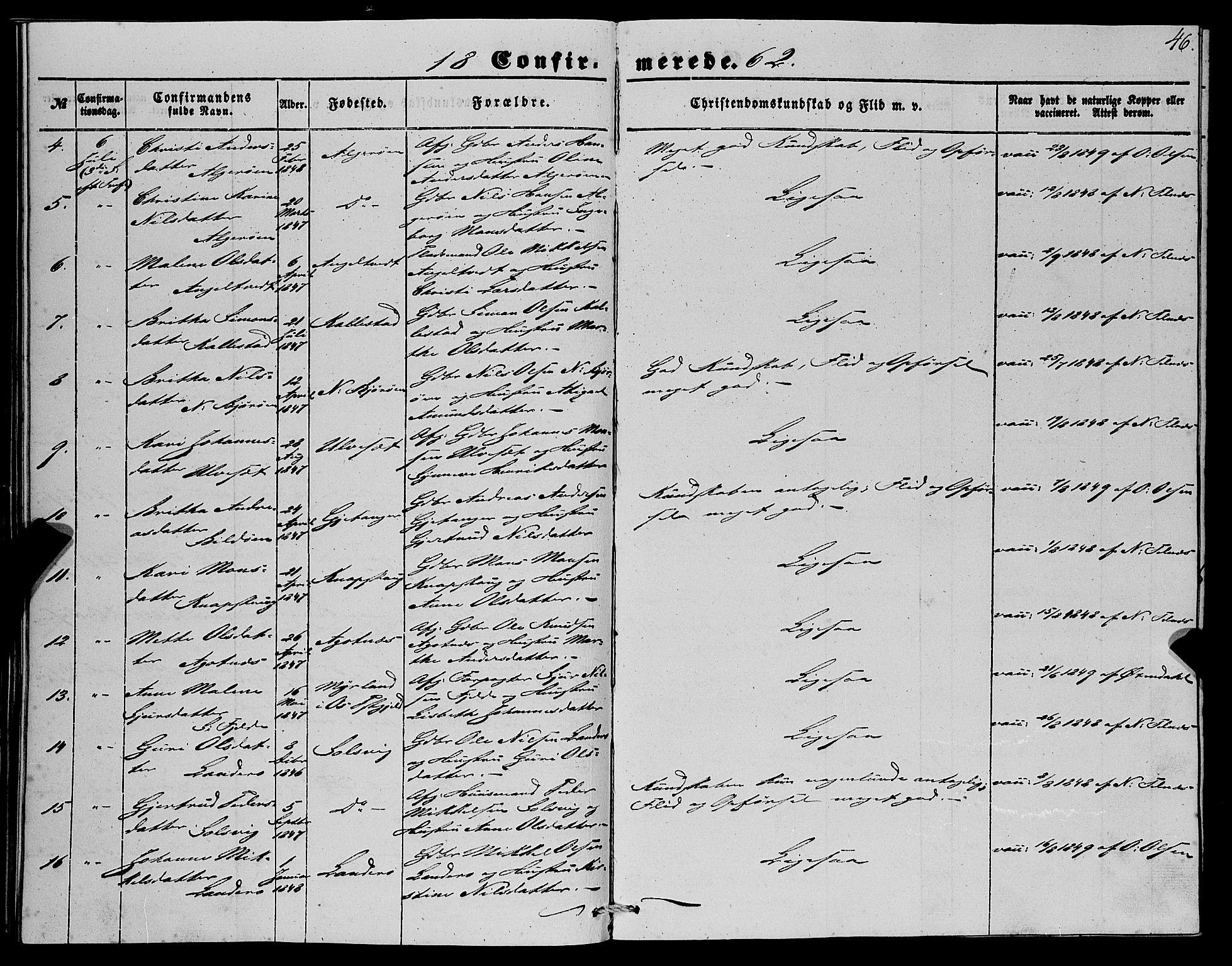 SAB, Fjell Sokneprestembete, H/Haa: Ministerialbok nr. A 4, 1851-1870, s. 46