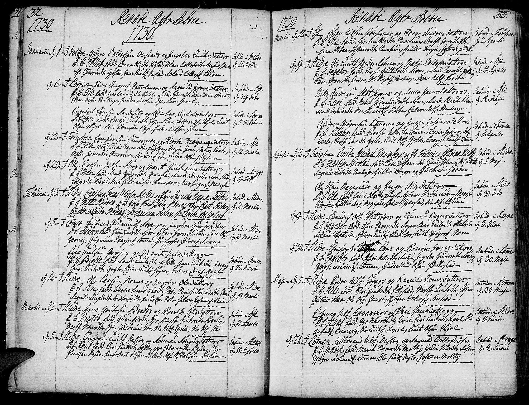 SAH, Slidre prestekontor, Ministerialbok nr. 1, 1724-1814, s. 32-33