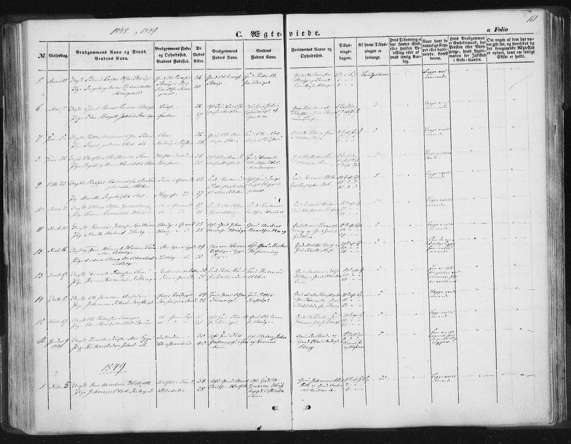 SAT, Ministerialprotokoller, klokkerbøker og fødselsregistre - Nord-Trøndelag, 746/L0446: Ministerialbok nr. 746A05, 1846-1859, s. 161
