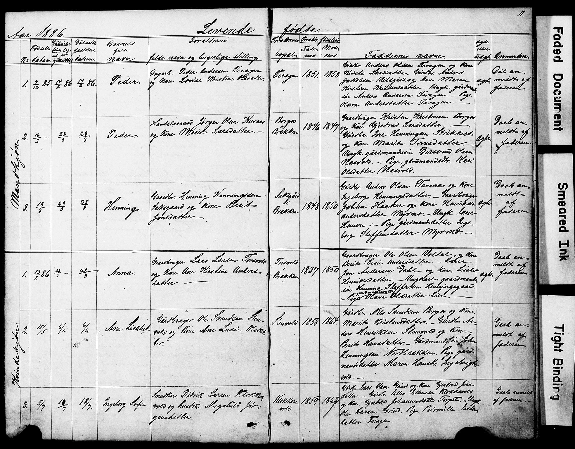 SAT, Ministerialprotokoller, klokkerbøker og fødselsregistre - Sør-Trøndelag, 683/L0949: Klokkerbok nr. 683C01, 1880-1896, s. 11