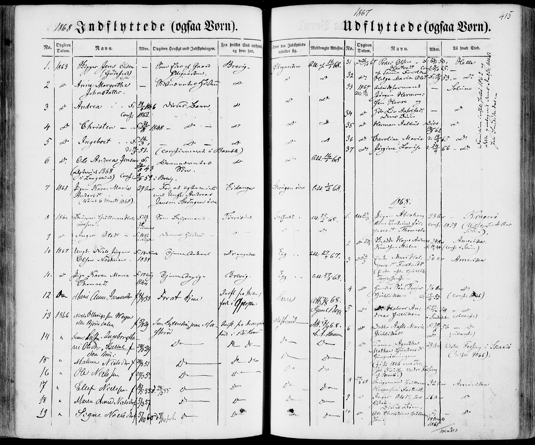 SAKO, Bamble kirkebøker, F/Fa/L0005: Ministerialbok nr. I 5, 1854-1869, s. 415