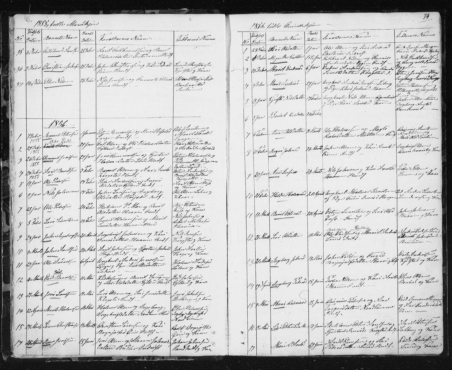SAT, Ministerialprotokoller, klokkerbøker og fødselsregistre - Sør-Trøndelag, 692/L1110: Klokkerbok nr. 692C05, 1849-1889, s. 74