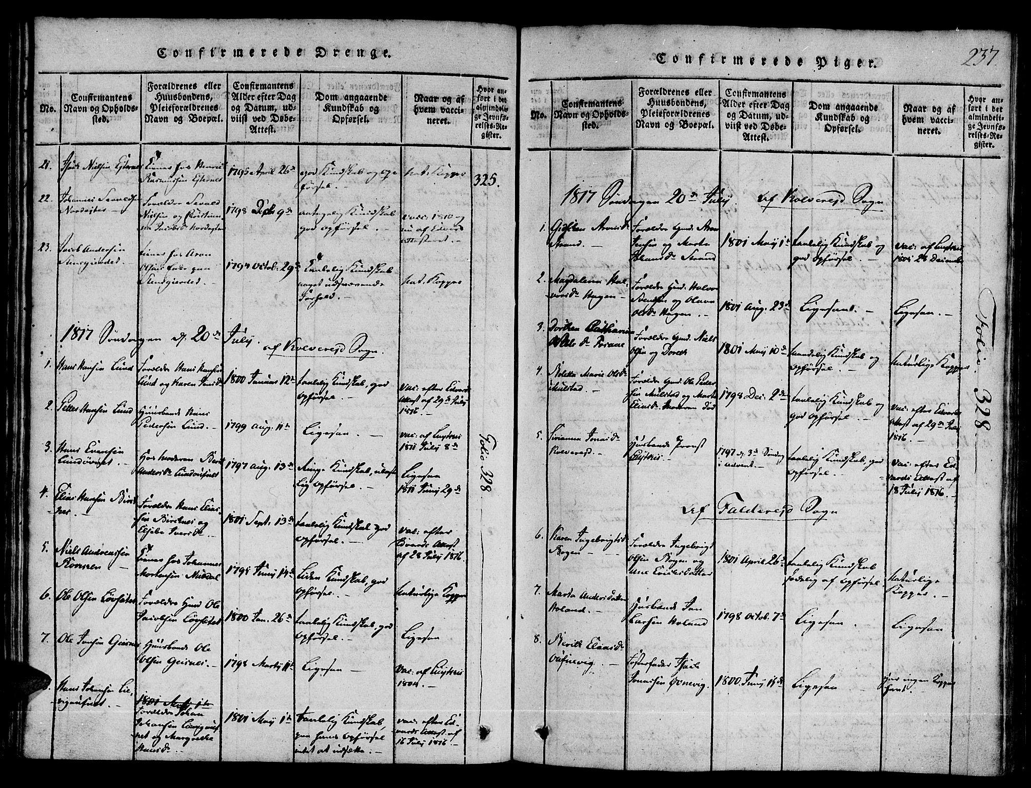 SAT, Ministerialprotokoller, klokkerbøker og fødselsregistre - Nord-Trøndelag, 780/L0636: Ministerialbok nr. 780A03 /1, 1815-1830, s. 237