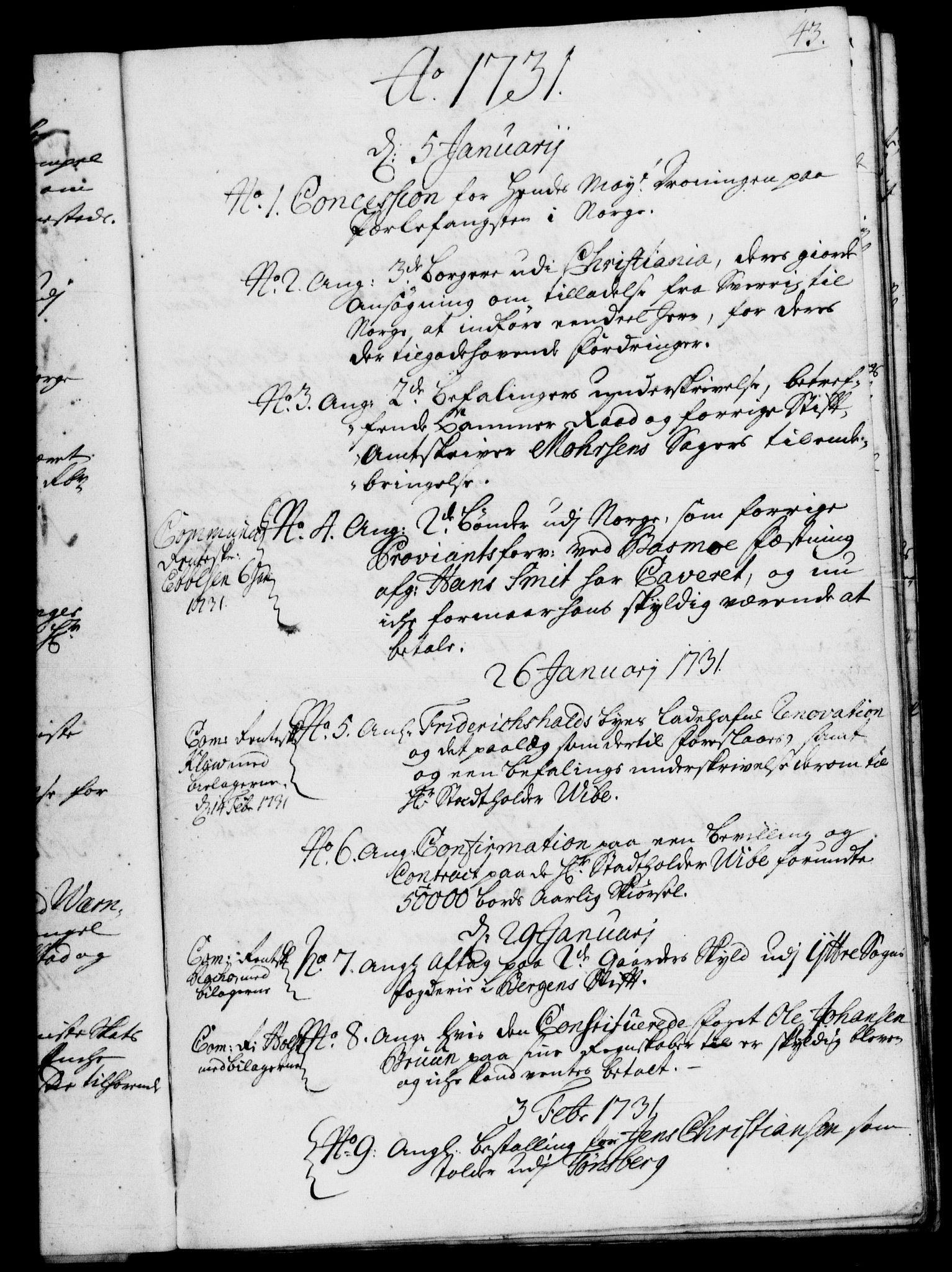 RA, Rentekammeret, Kammerkanselliet, G/Gf/Gfb/L0003: Register til norske relasjons- og resolusjonsprotokoller (merket RK 52.98), 1729-1736, s. 43