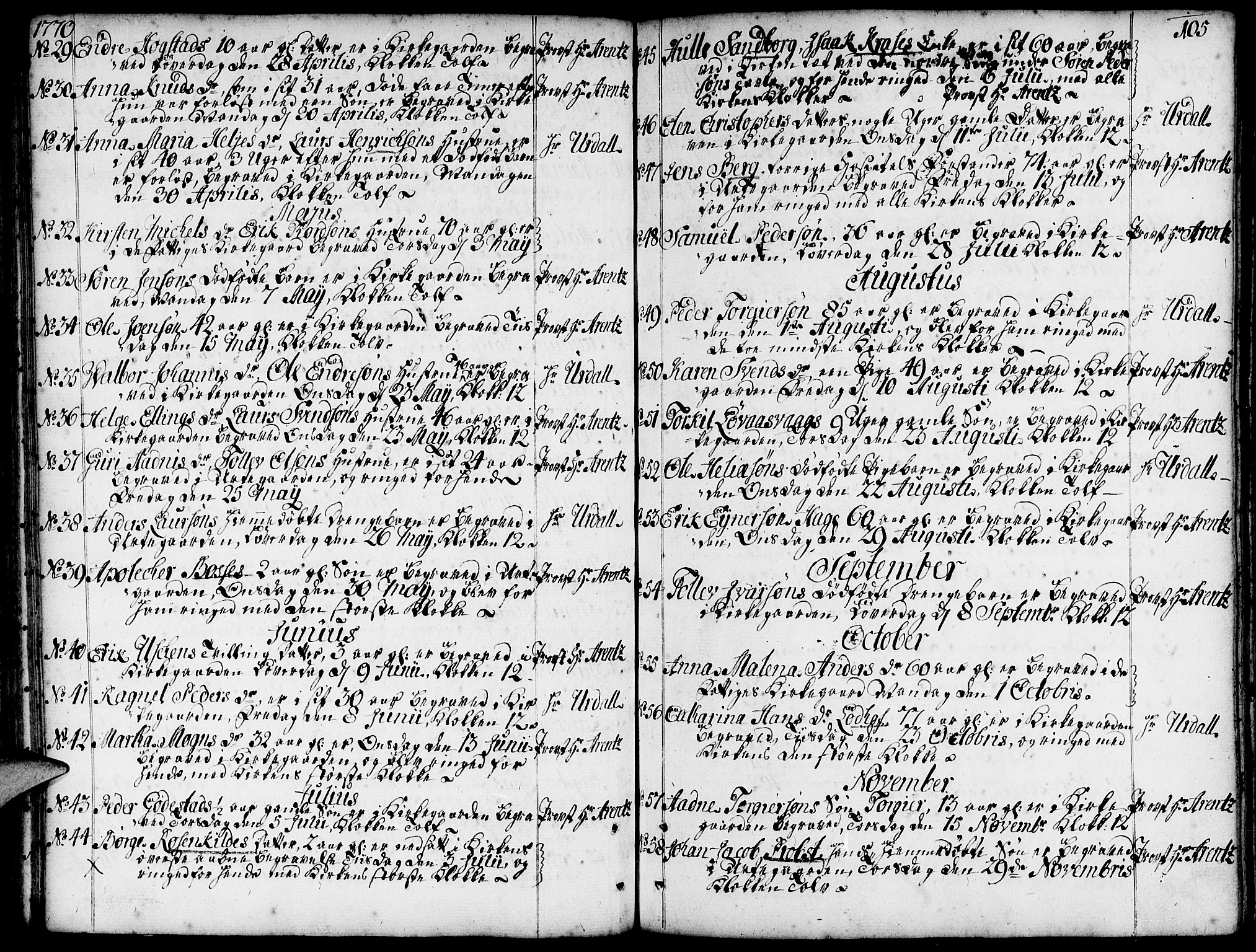 SAST, Domkirken sokneprestkontor, 30/30BA/L0005: Ministerialbok nr. A 5, 1744-1788, s. 105