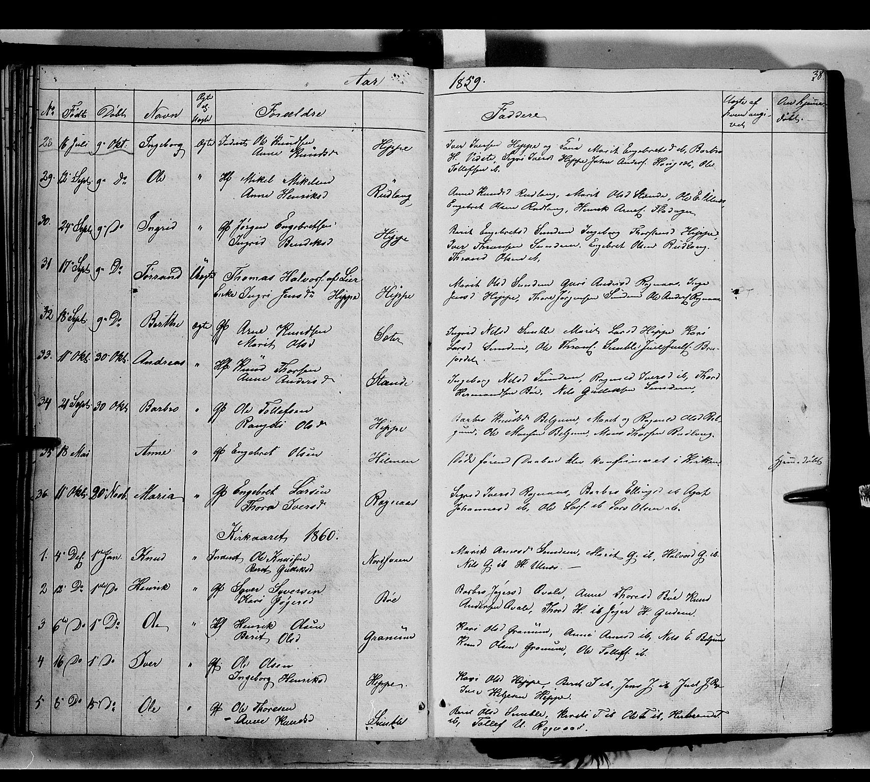 SAH, Nord-Aurdal prestekontor, Ministerialbok nr. 6, 1842-1863, s. 38