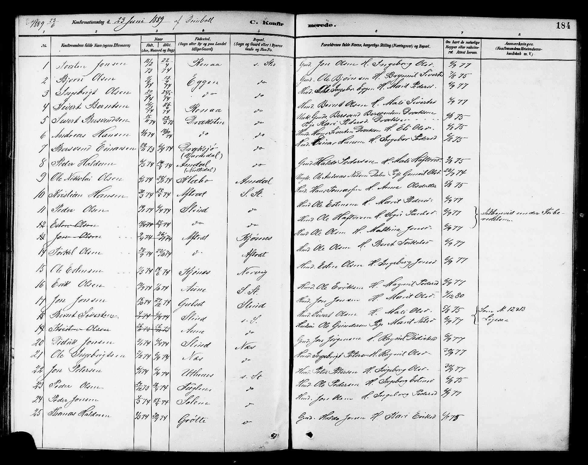 SAT, Ministerialprotokoller, klokkerbøker og fødselsregistre - Sør-Trøndelag, 695/L1157: Klokkerbok nr. 695C08, 1889-1913, s. 184