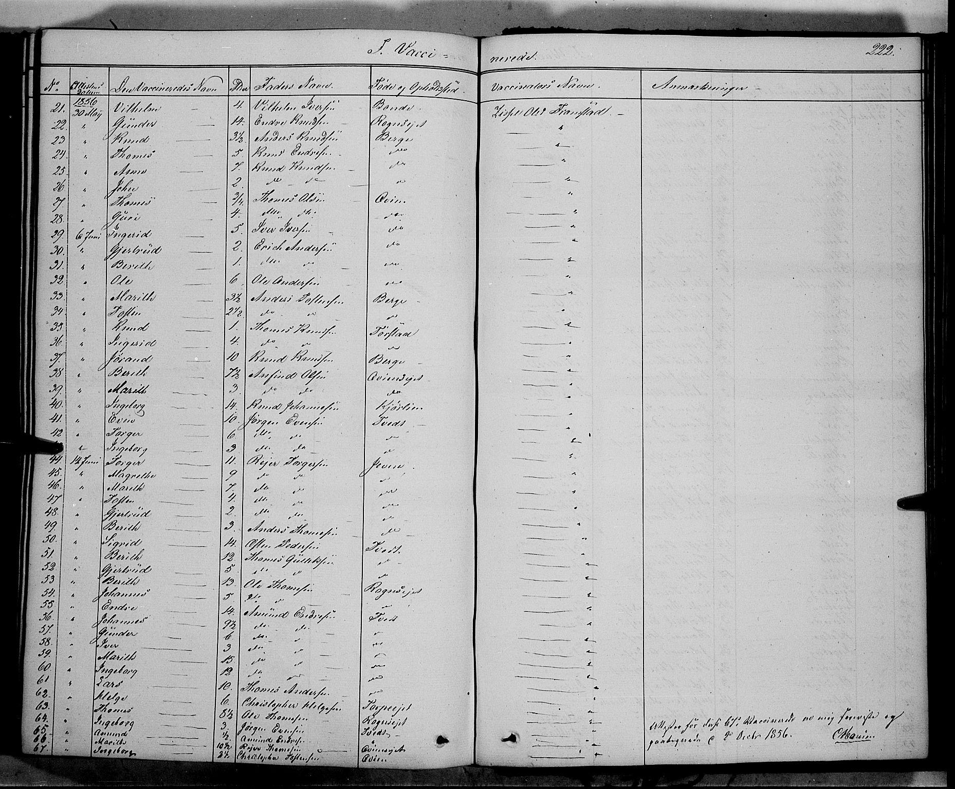 SAH, Vang prestekontor, Valdres, Ministerialbok nr. 6, 1846-1864, s. 222