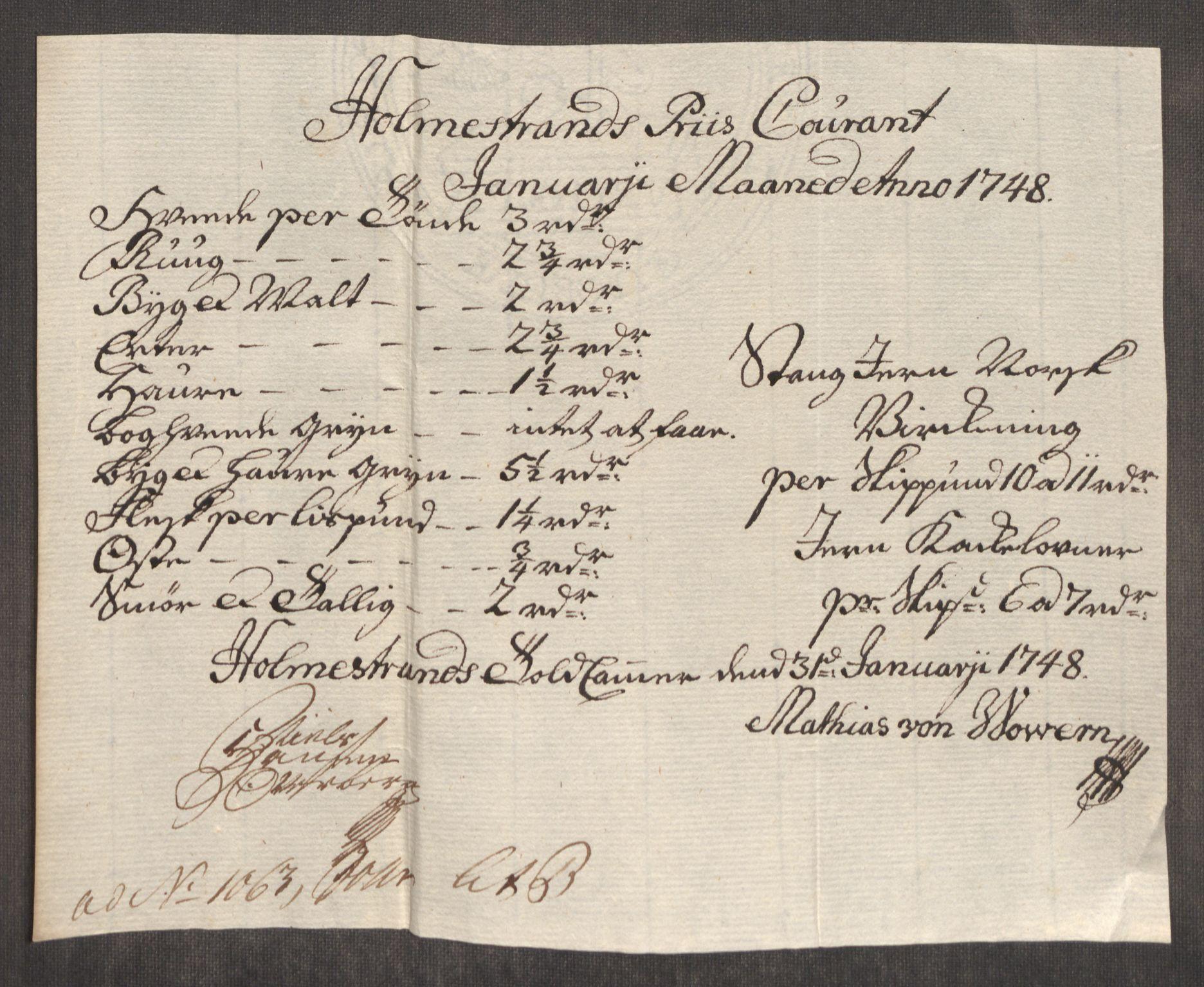 RA, Rentekammeret inntil 1814, Realistisk ordnet avdeling, Oe/L0003: [Ø1]: Priskuranter, 1745-1748, s. 749