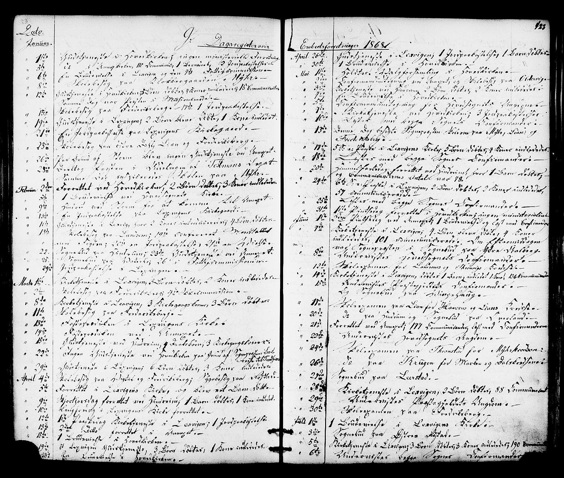 SAT, Ministerialprotokoller, klokkerbøker og fødselsregistre - Nord-Trøndelag, 701/L0009: Ministerialbok nr. 701A09 /1, 1864-1882, s. 423