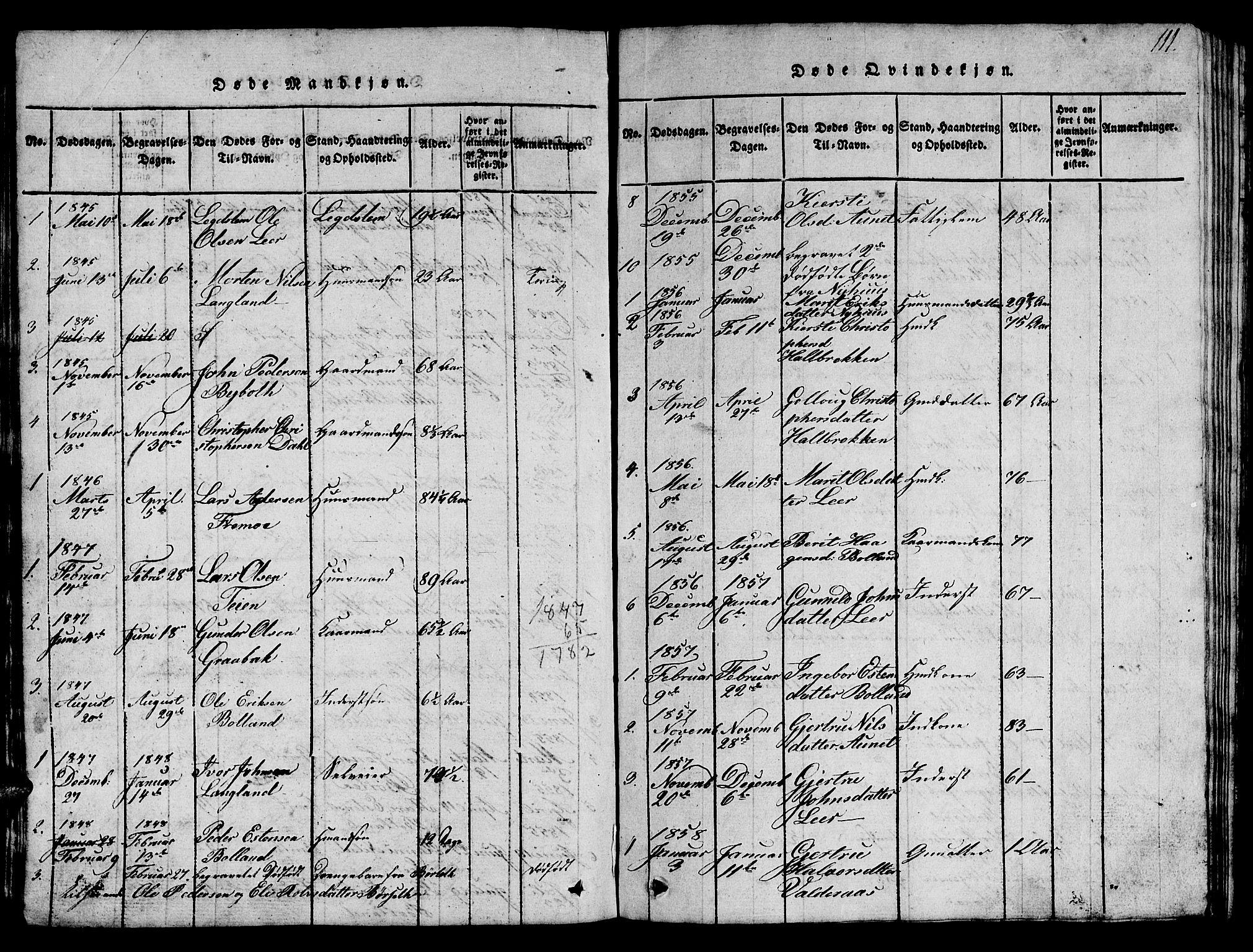 SAT, Ministerialprotokoller, klokkerbøker og fødselsregistre - Sør-Trøndelag, 693/L1121: Klokkerbok nr. 693C02, 1816-1869, s. 111