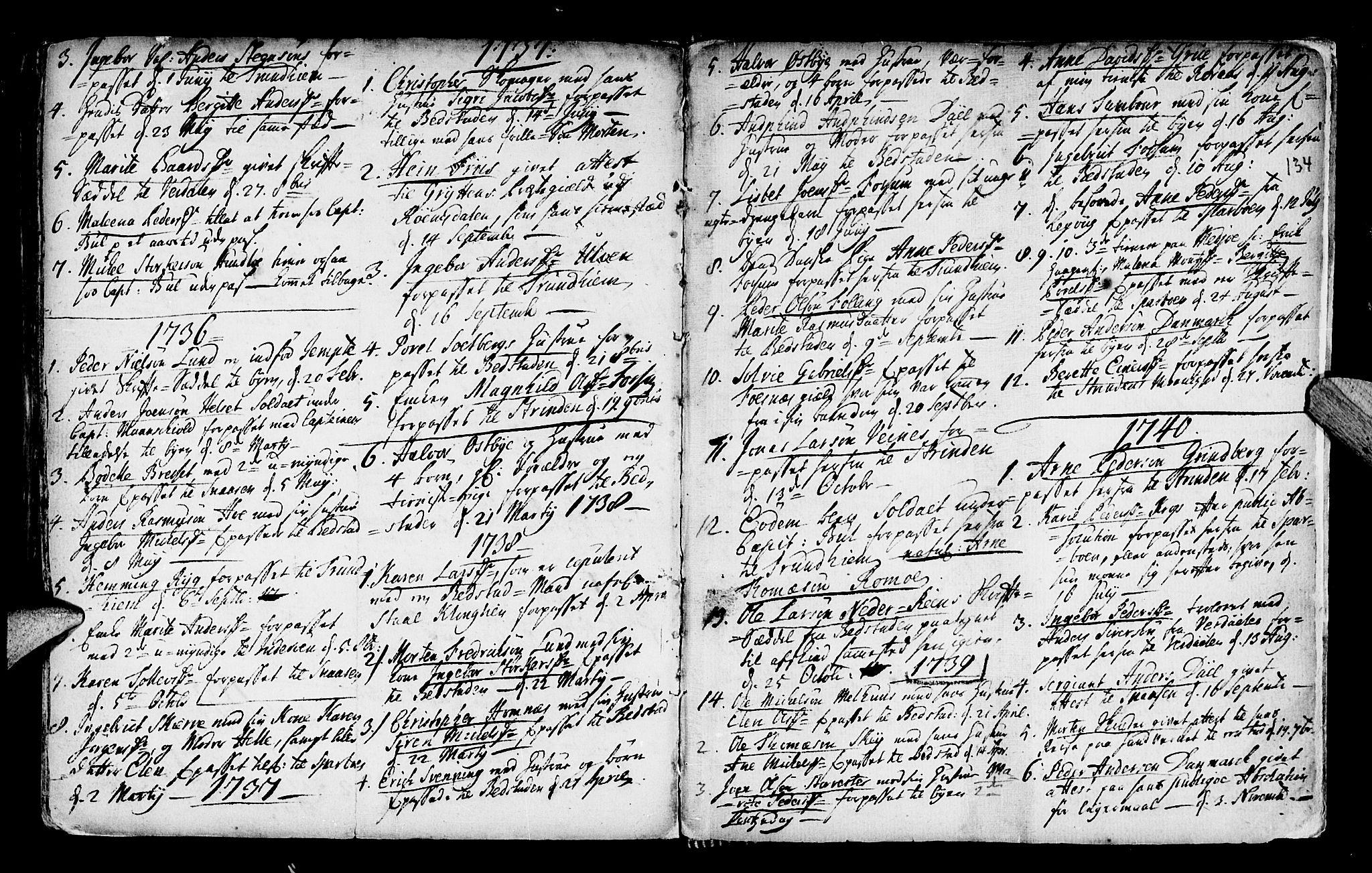 SAT, Ministerialprotokoller, klokkerbøker og fødselsregistre - Nord-Trøndelag, 746/L0439: Ministerialbok nr. 746A01, 1688-1759, s. 134