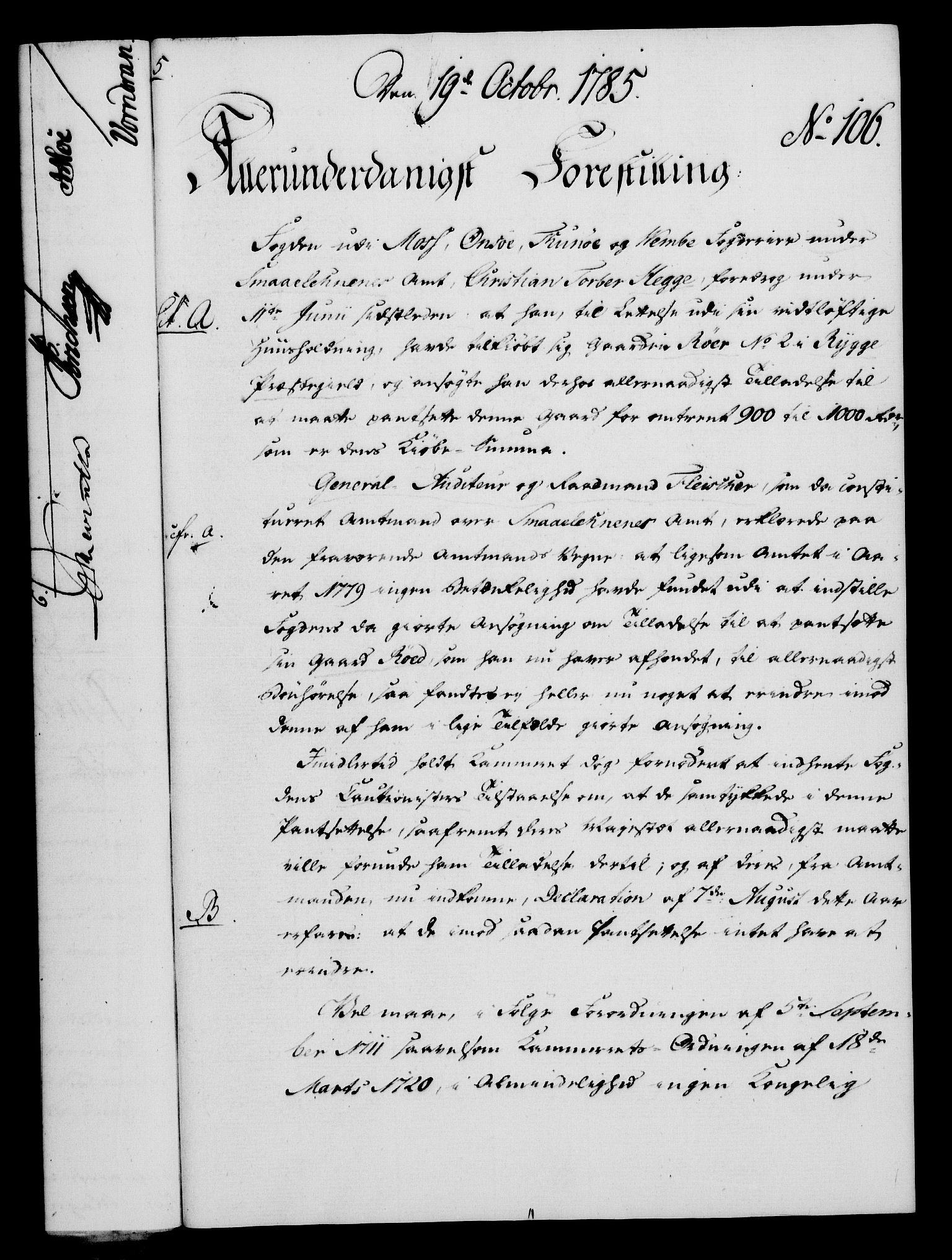 RA, Rentekammeret, Kammerkanselliet, G/Gf/Gfa/L0067: Norsk relasjons- og resolusjonsprotokoll (merket RK 52.67), 1785, s. 826