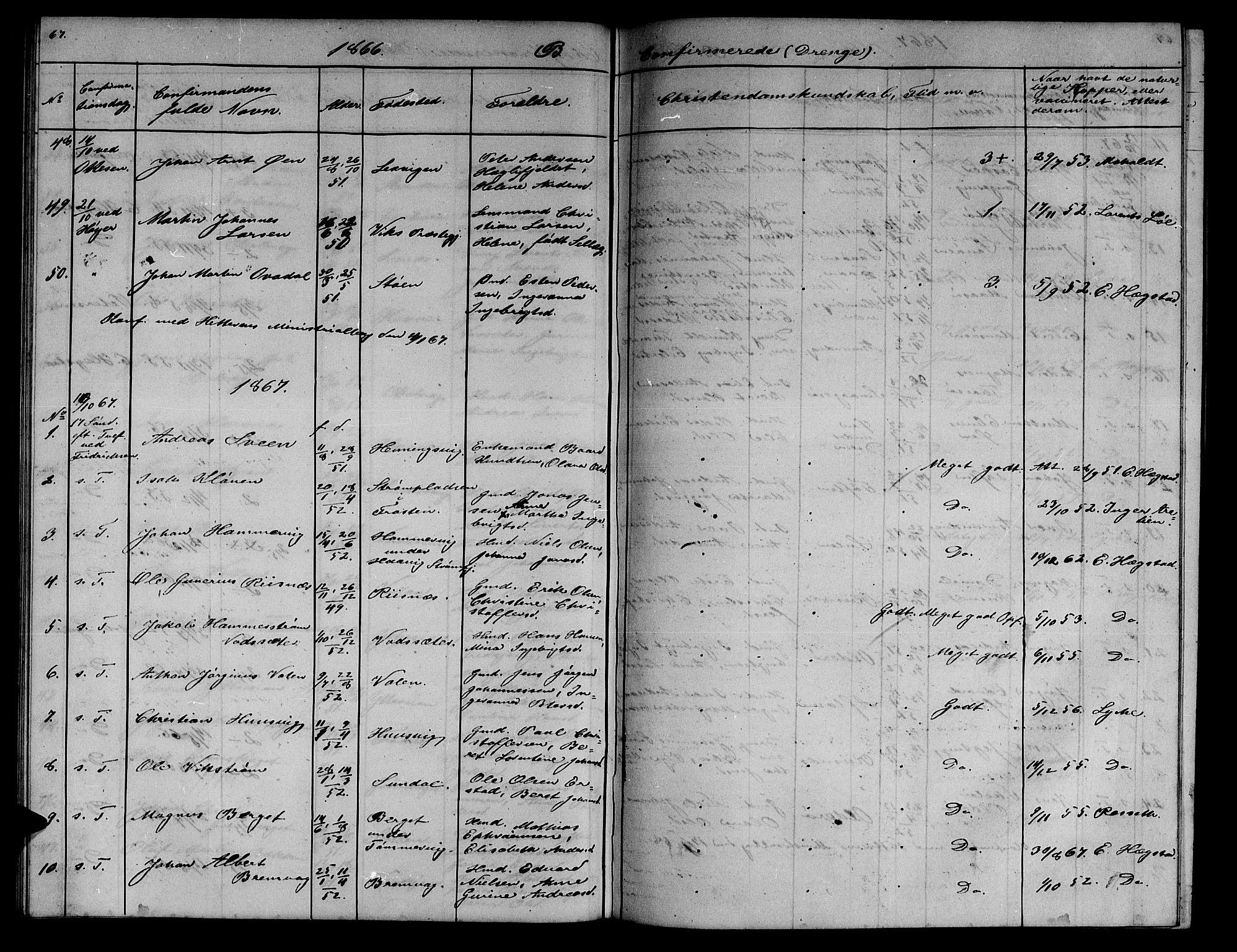 SAT, Ministerialprotokoller, klokkerbøker og fødselsregistre - Sør-Trøndelag, 634/L0539: Klokkerbok nr. 634C01, 1866-1873, s. 67