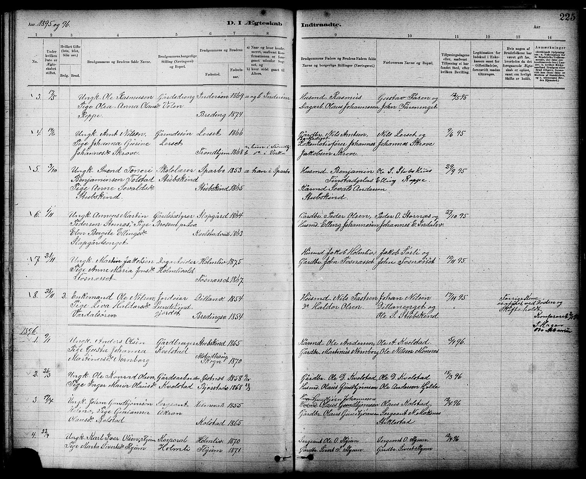 SAT, Ministerialprotokoller, klokkerbøker og fødselsregistre - Nord-Trøndelag, 724/L0267: Klokkerbok nr. 724C03, 1879-1898, s. 225