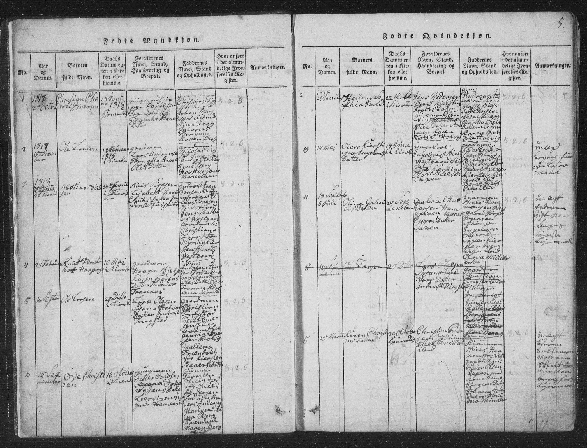 SAT, Ministerialprotokoller, klokkerbøker og fødselsregistre - Nord-Trøndelag, 773/L0613: Ministerialbok nr. 773A04, 1815-1845, s. 5