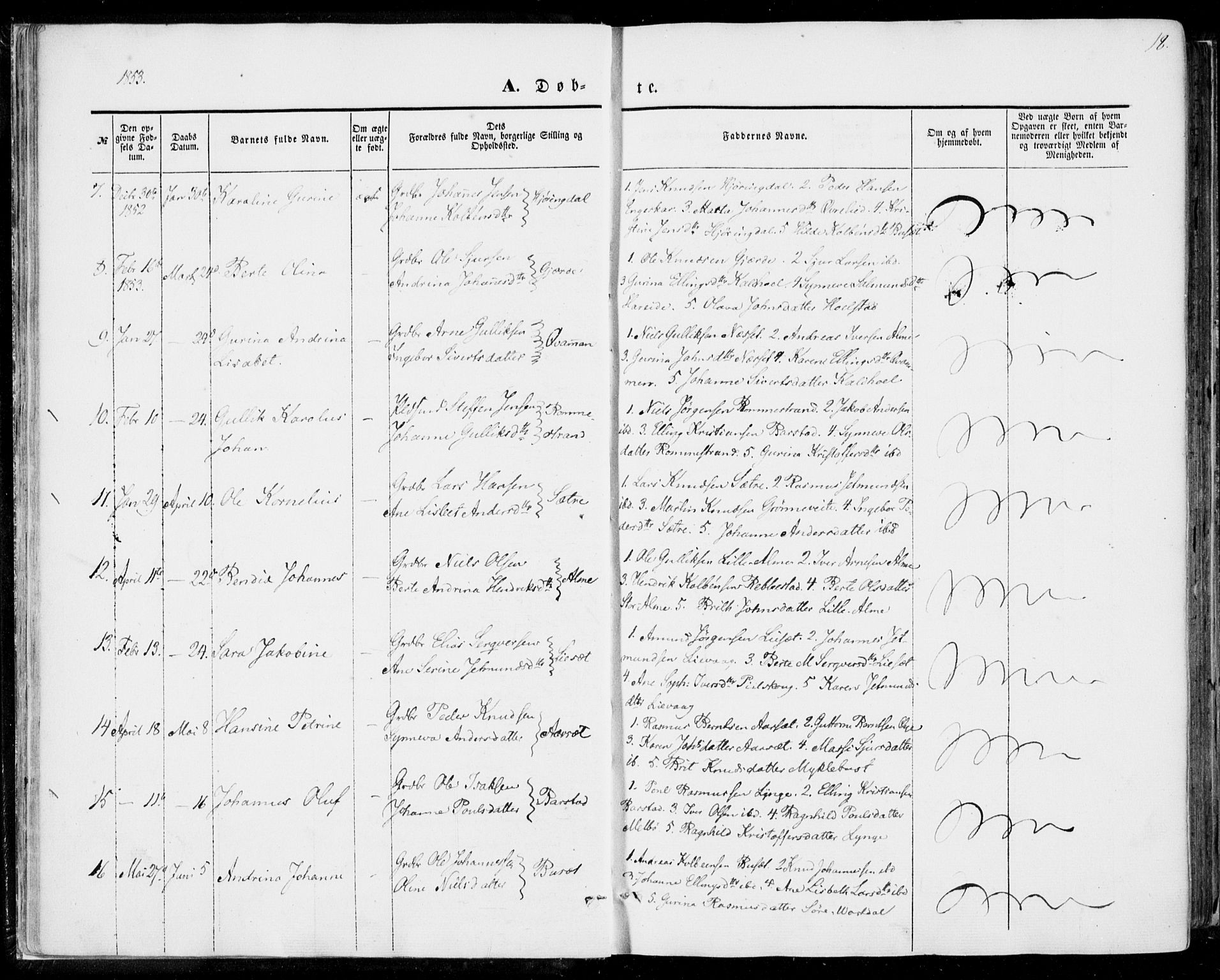 SAT, Ministerialprotokoller, klokkerbøker og fødselsregistre - Møre og Romsdal, 510/L0121: Ministerialbok nr. 510A01, 1848-1877, s. 18