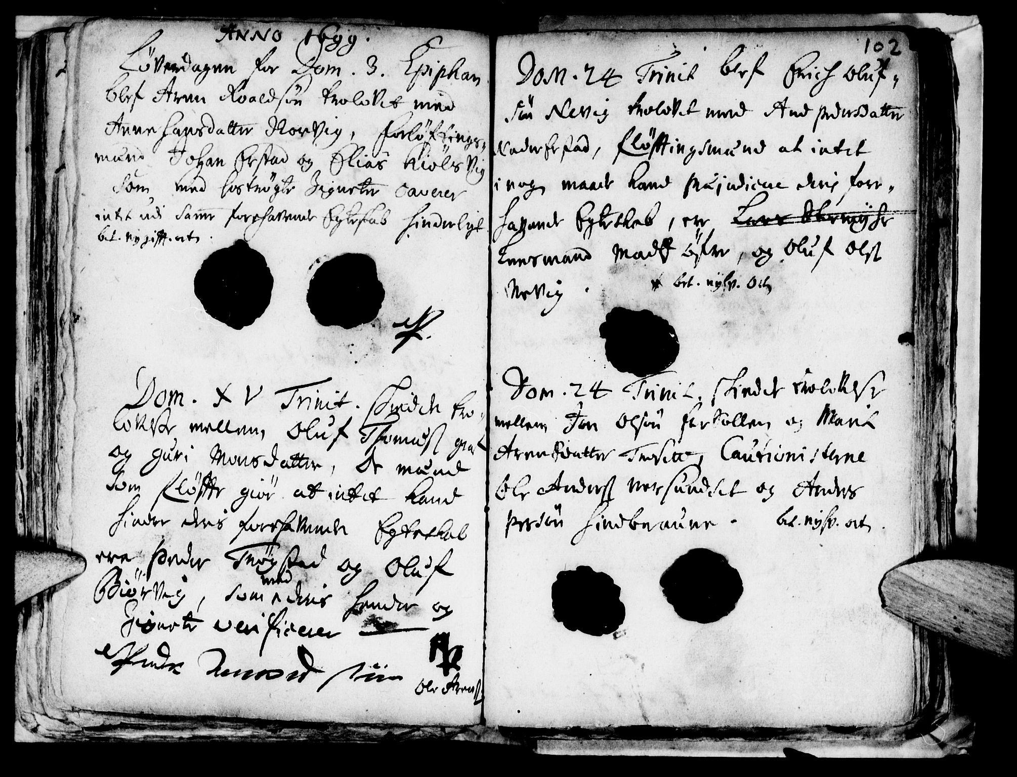 SAT, Ministerialprotokoller, klokkerbøker og fødselsregistre - Nord-Trøndelag, 722/L0214: Ministerialbok nr. 722A01, 1692-1718, s. 102