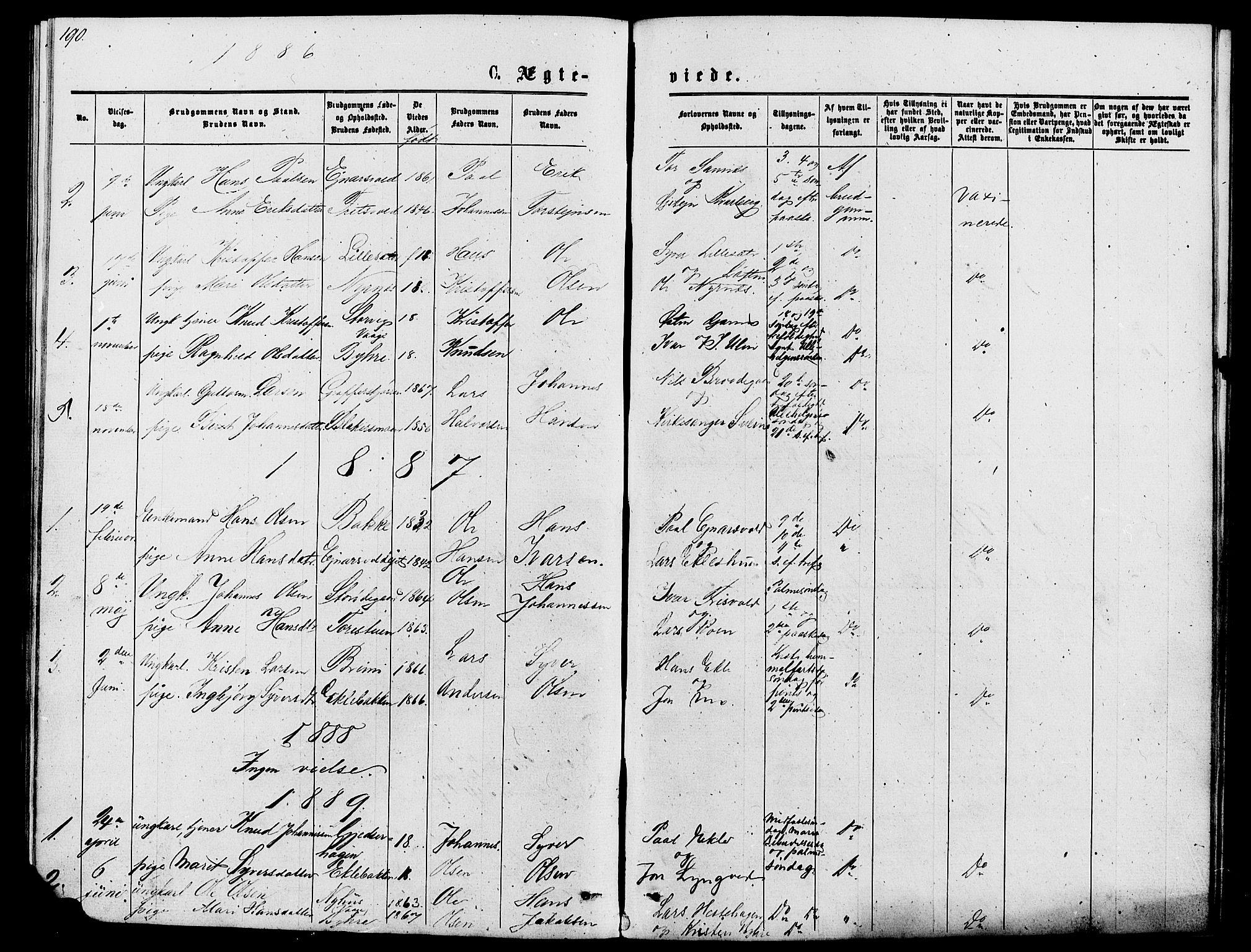 SAH, Lom prestekontor, L/L0005: Klokkerbok nr. 5, 1876-1901, s. 190-191