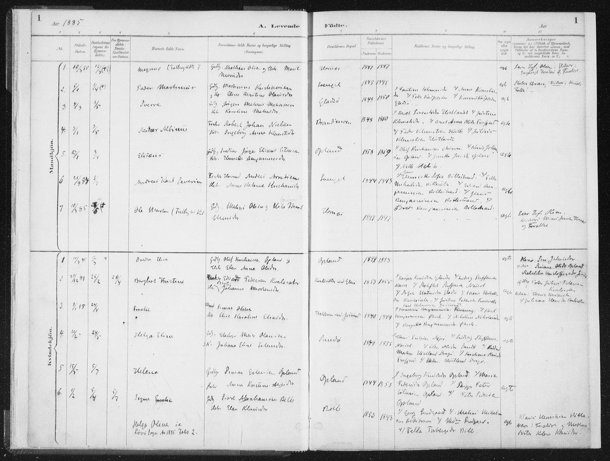 SAT, Ministerialprotokoller, klokkerbøker og fødselsregistre - Nord-Trøndelag, 771/L0597: Ministerialbok nr. 771A04, 1885-1910, s. 1