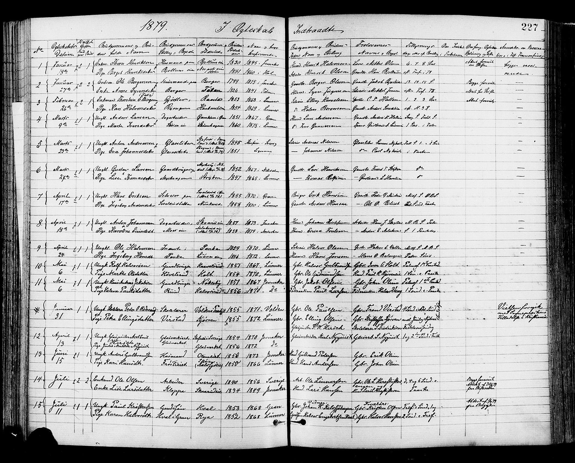 SAH, Jevnaker prestekontor, Ministerialbok nr. 8, 1877-1890, s. 227