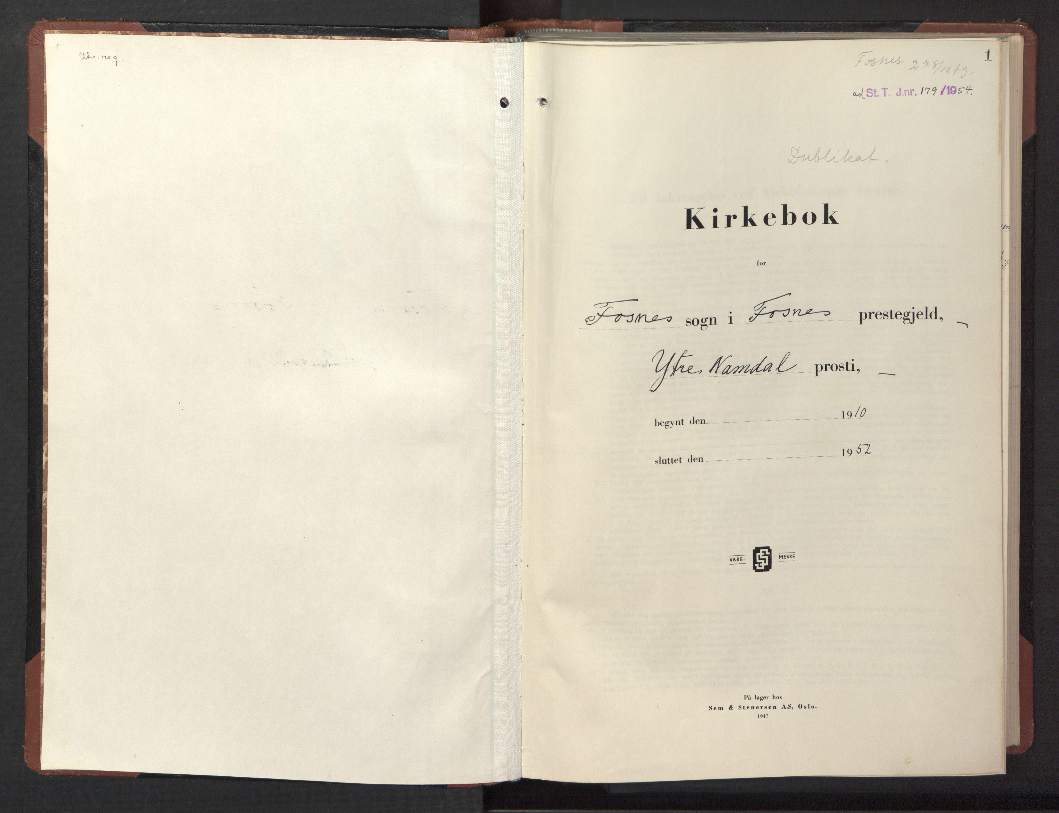SAT, Ministerialprotokoller, klokkerbøker og fødselsregistre - Nord-Trøndelag, 773/L0625: Klokkerbok nr. 773C01, 1910-1952, s. 1