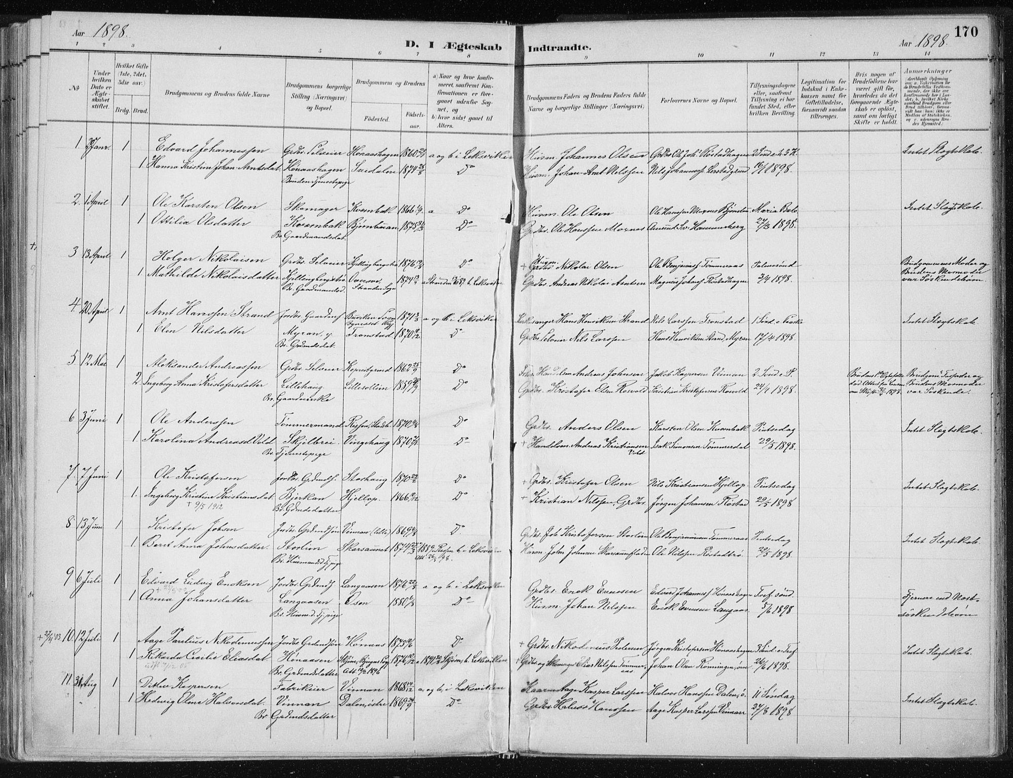 SAT, Ministerialprotokoller, klokkerbøker og fødselsregistre - Nord-Trøndelag, 701/L0010: Ministerialbok nr. 701A10, 1883-1899, s. 170