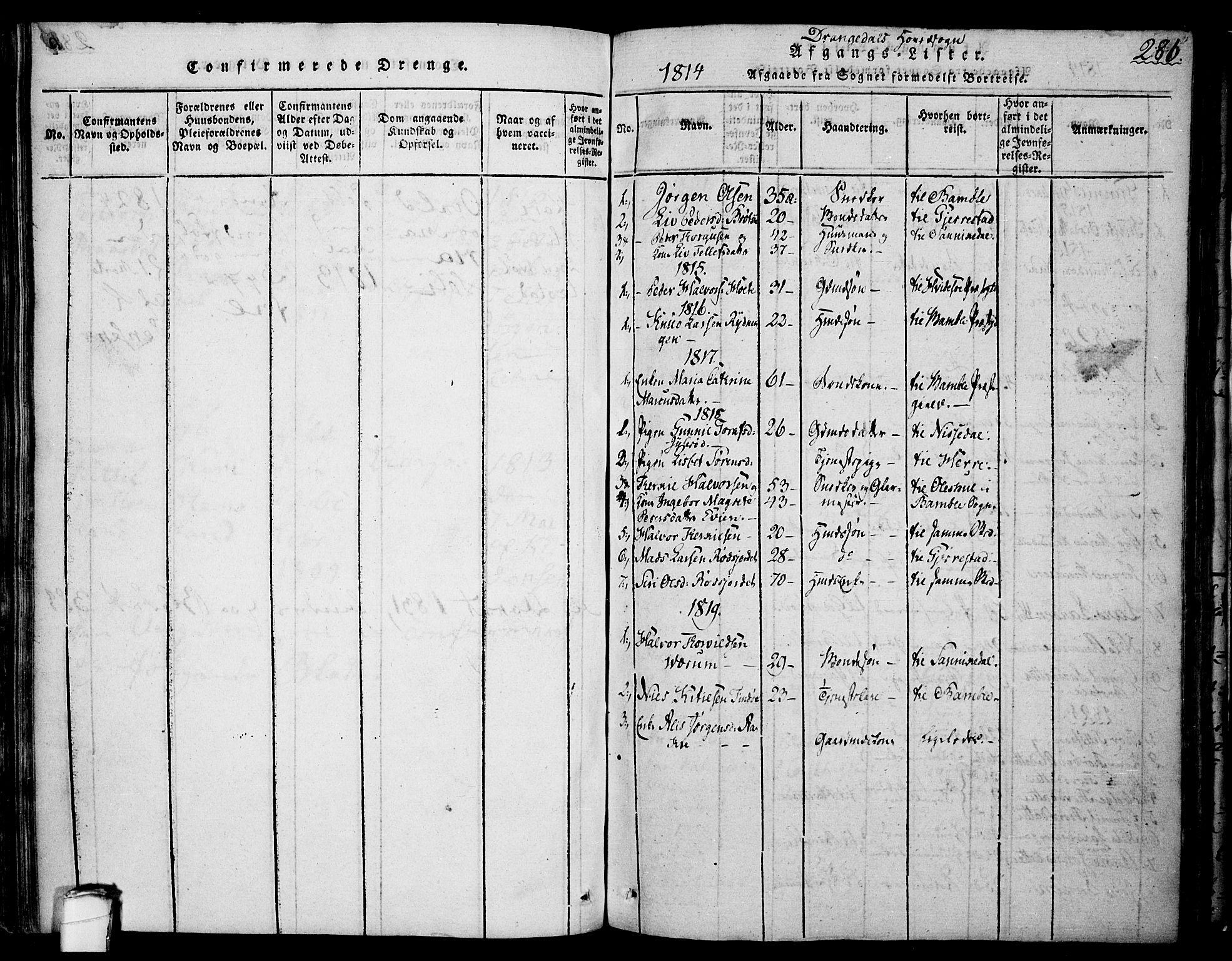 SAKO, Drangedal kirkebøker, F/Fa/L0005: Ministerialbok nr. 5 /1, 1814-1831, s. 286