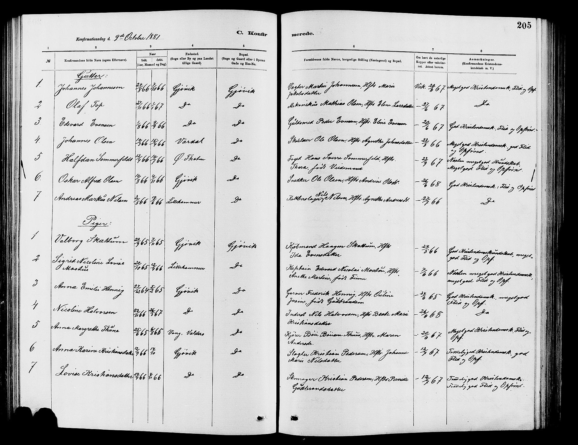 SAH, Vardal prestekontor, H/Ha/Hab/L0007: Klokkerbok nr. 7 /2, 1881-1895, s. 205