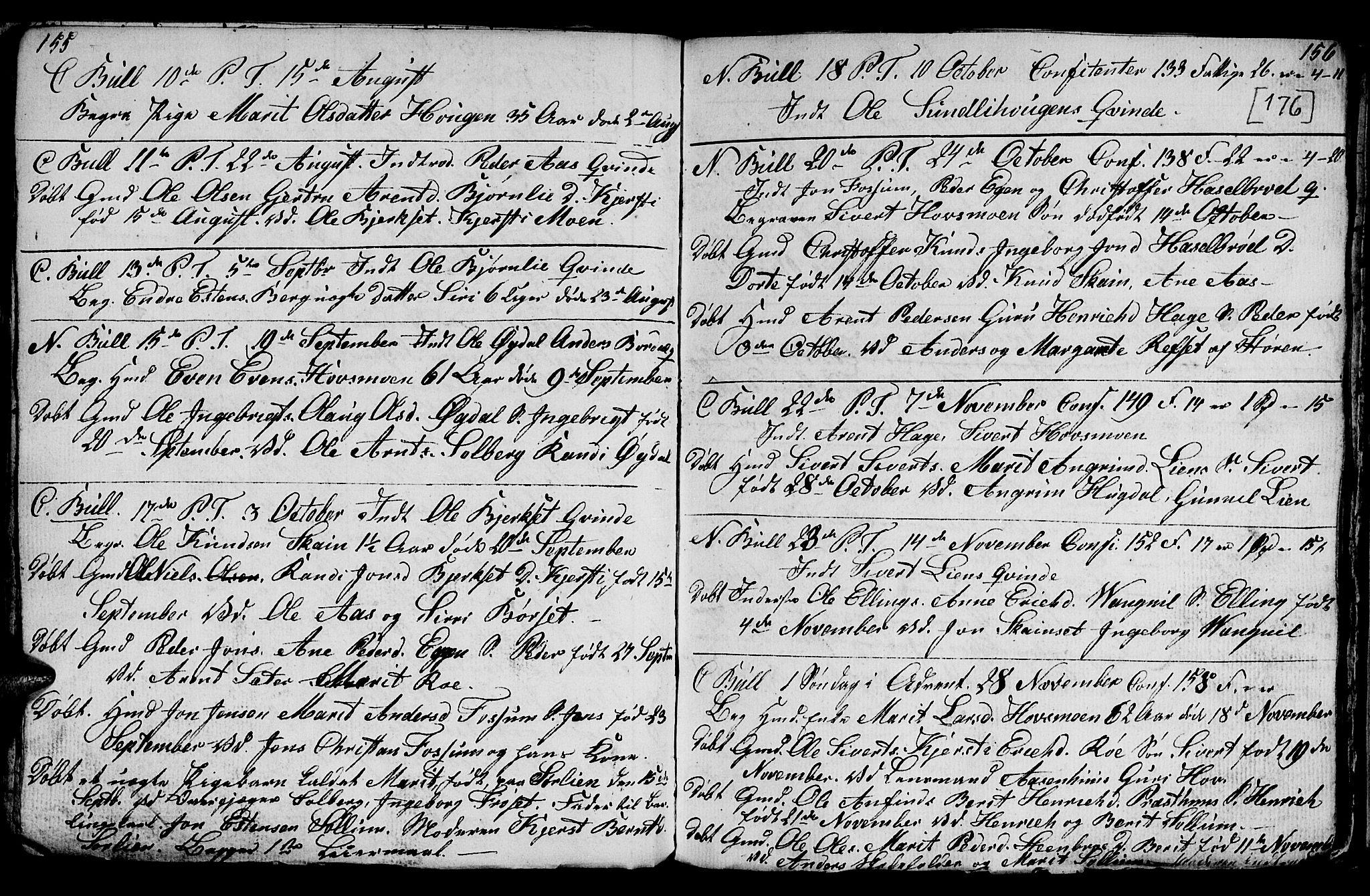 SAT, Ministerialprotokoller, klokkerbøker og fødselsregistre - Sør-Trøndelag, 689/L1042: Klokkerbok nr. 689C01, 1812-1841, s. 175-176