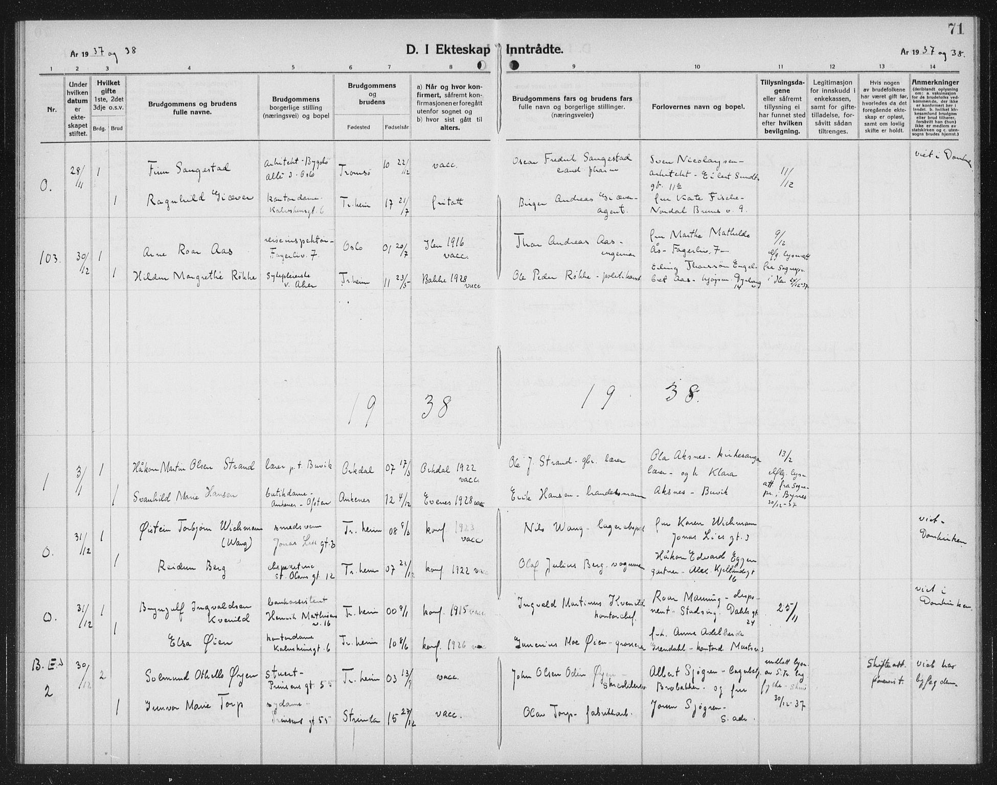 SAT, Ministerialprotokoller, klokkerbøker og fødselsregistre - Sør-Trøndelag, 602/L0152: Klokkerbok nr. 602C20, 1933-1940, s. 71