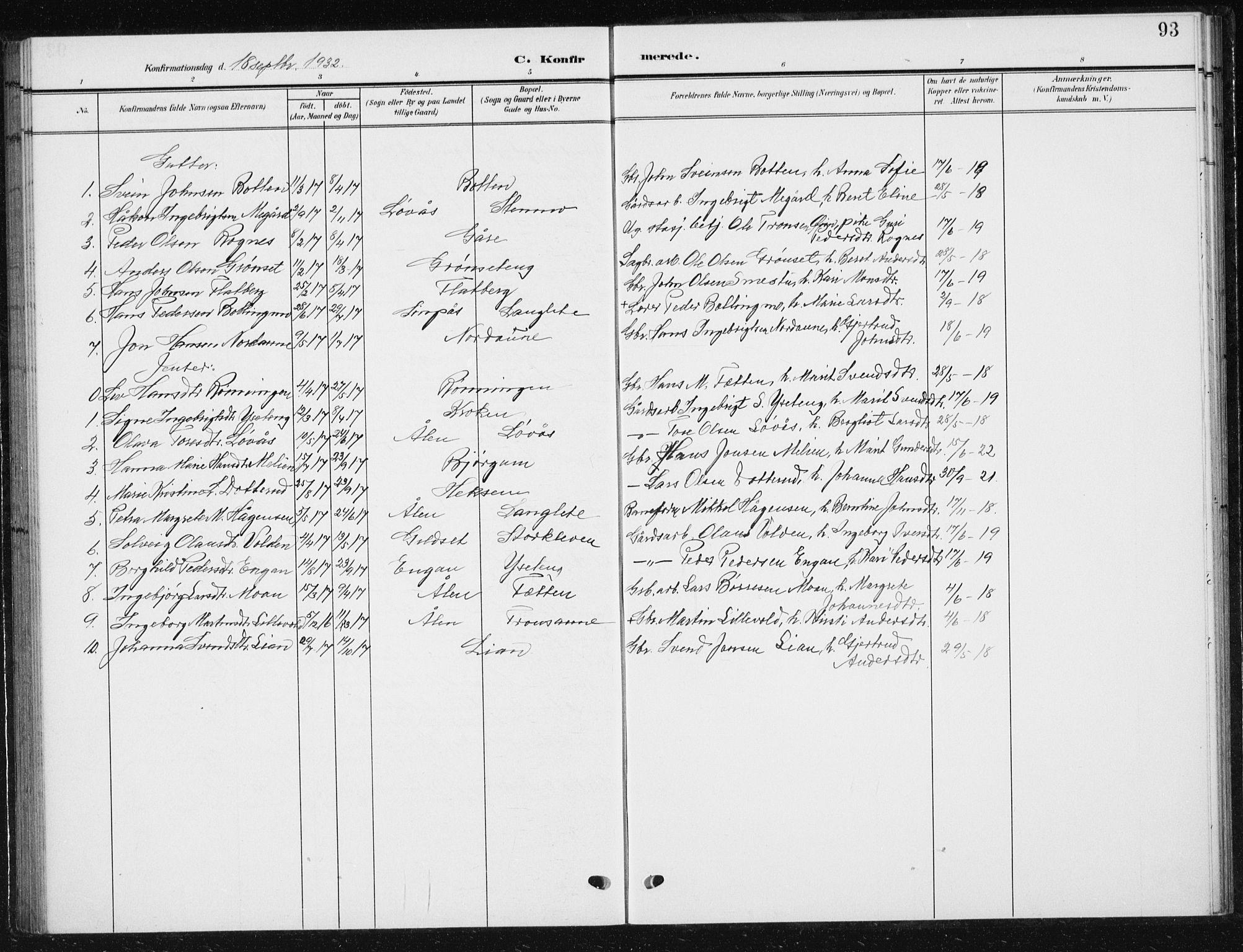 SAT, Ministerialprotokoller, klokkerbøker og fødselsregistre - Sør-Trøndelag, 685/L0979: Klokkerbok nr. 685C04, 1908-1933, s. 93