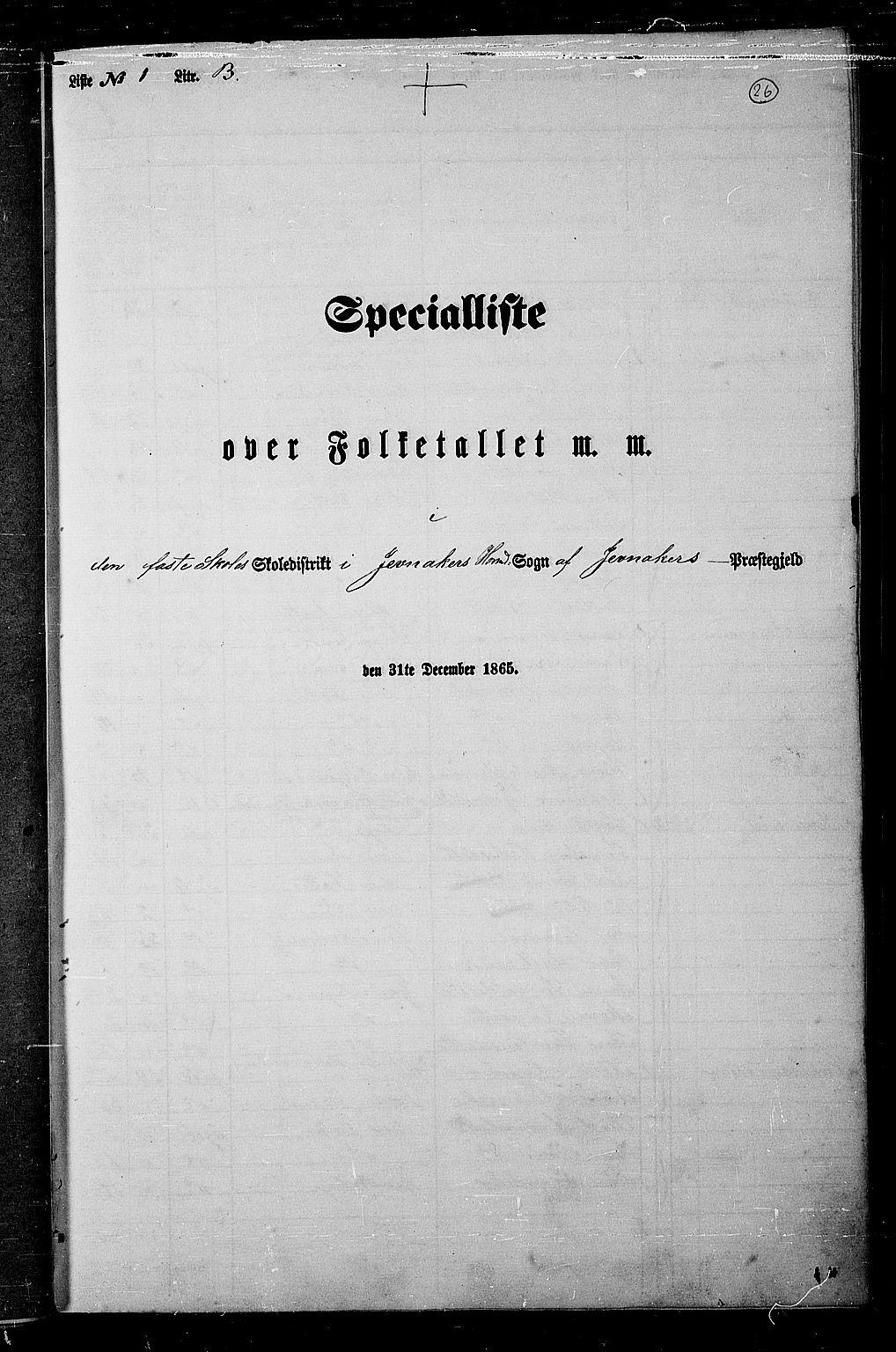 RA, Folketelling 1865 for 0532P Jevnaker prestegjeld, 1865, s. 25