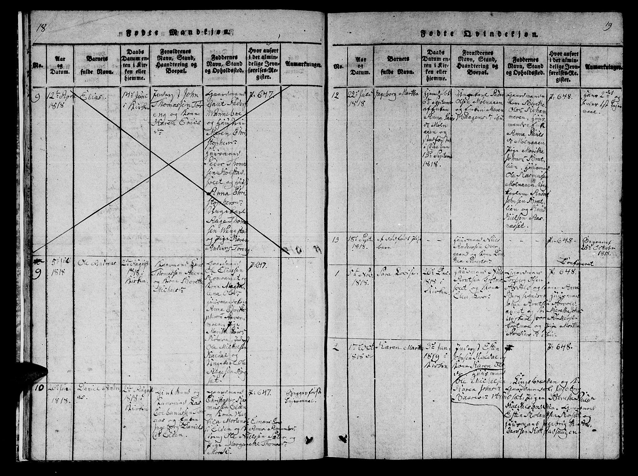 SAT, Ministerialprotokoller, klokkerbøker og fødselsregistre - Nord-Trøndelag, 742/L0411: Klokkerbok nr. 742C02, 1817-1825, s. 18-19