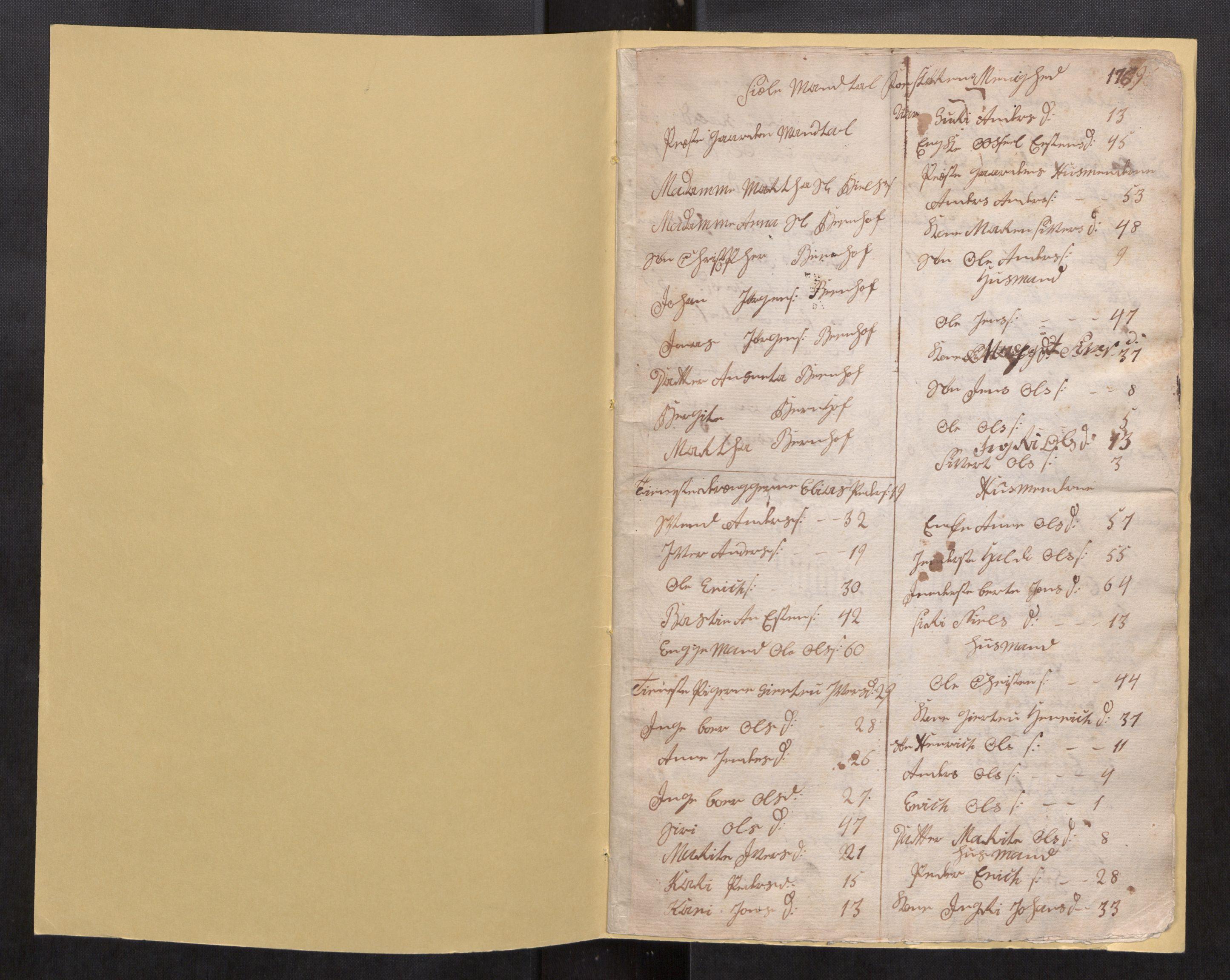 SAT, Støren sokneprestkontor, Øvrighetsfunksjoner, Folketellinger, nr. 1.1: Folketelling 1769, 1769, s. 1