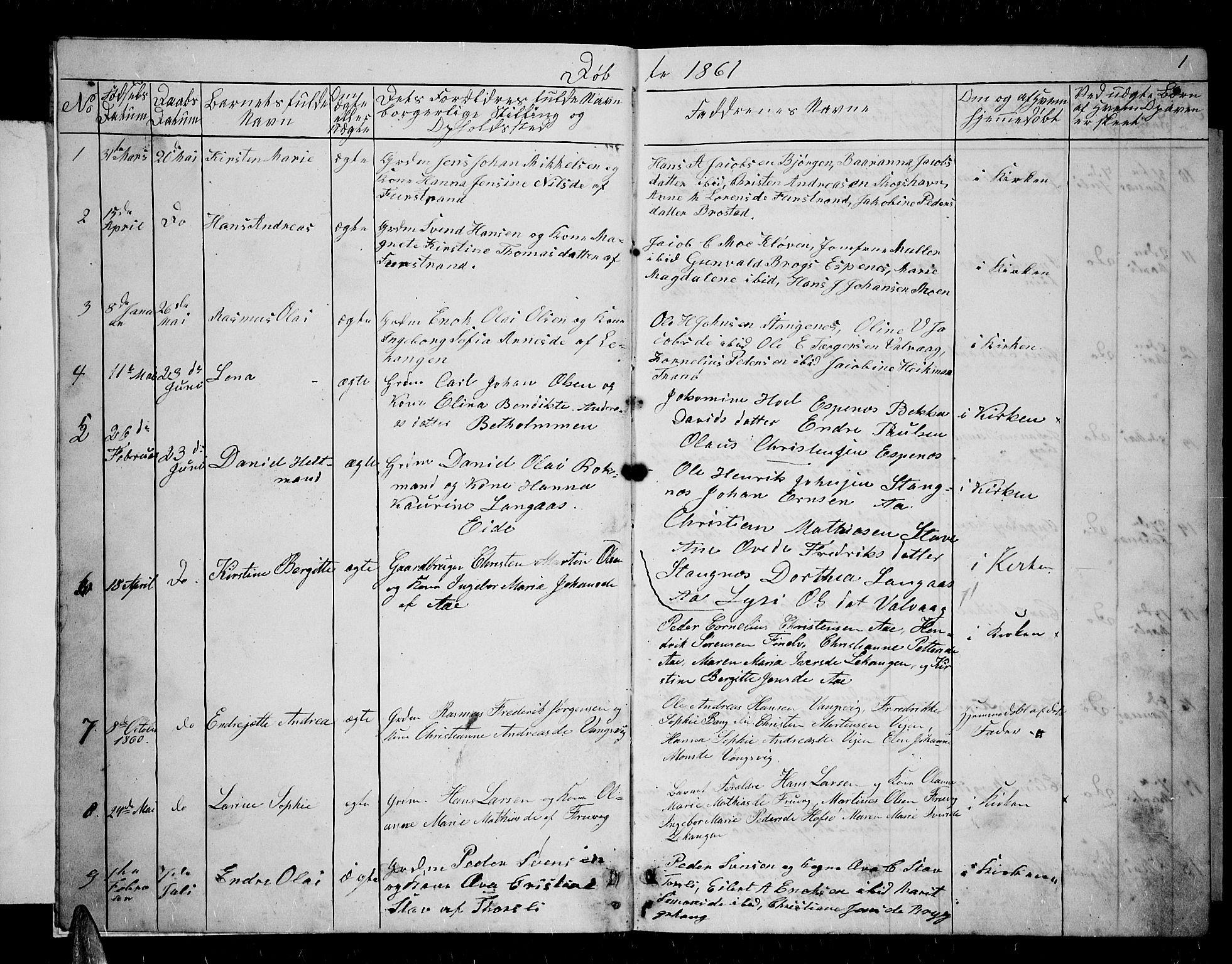 SATØ, Tranøy sokneprestkontor, I/Ia/Iab/L0003klokker: Klokkerbok nr. 3, 1861-1887, s. 1